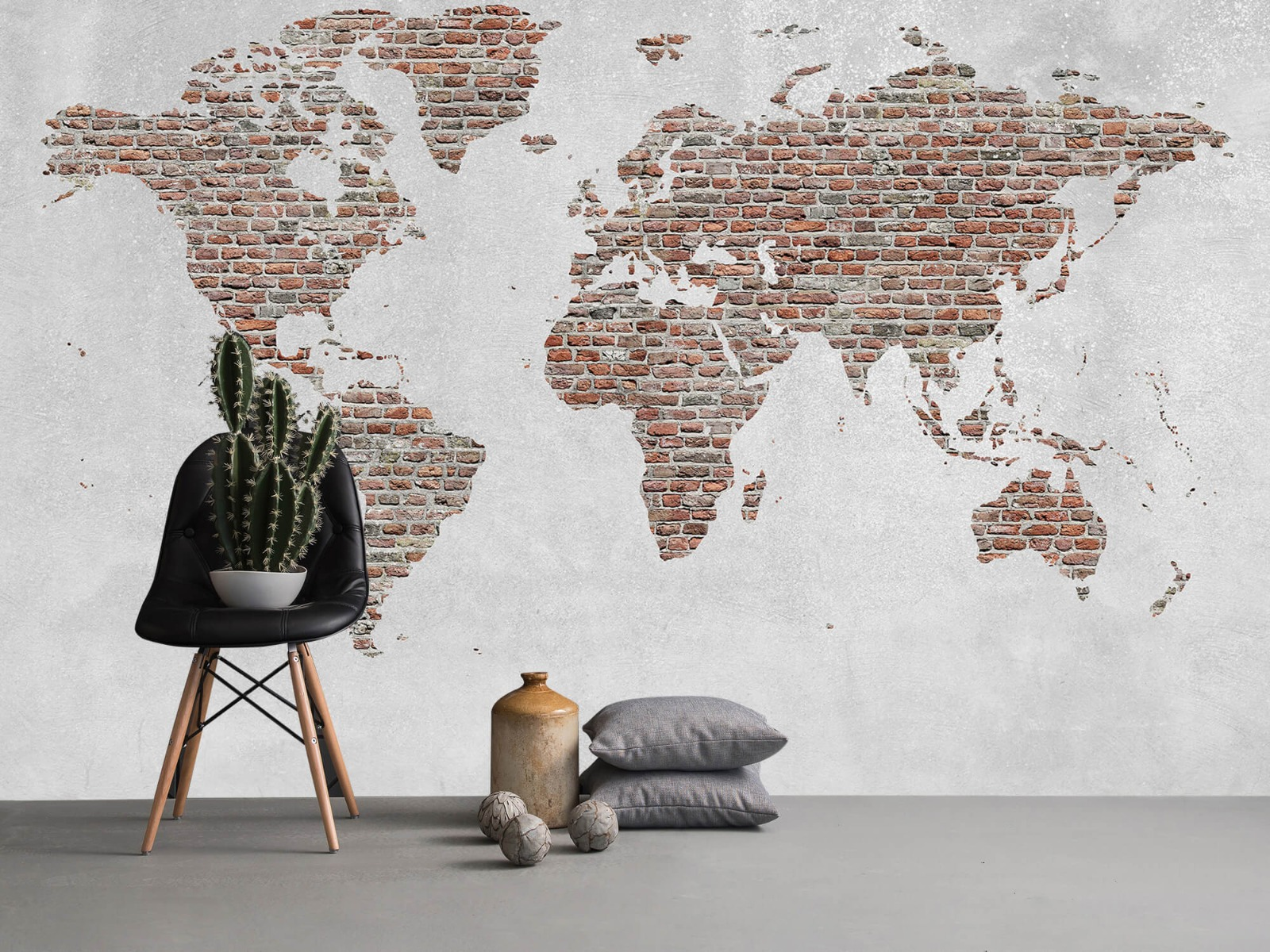 Steen behang - Wereldkaart stenen - Slaapkamer 13