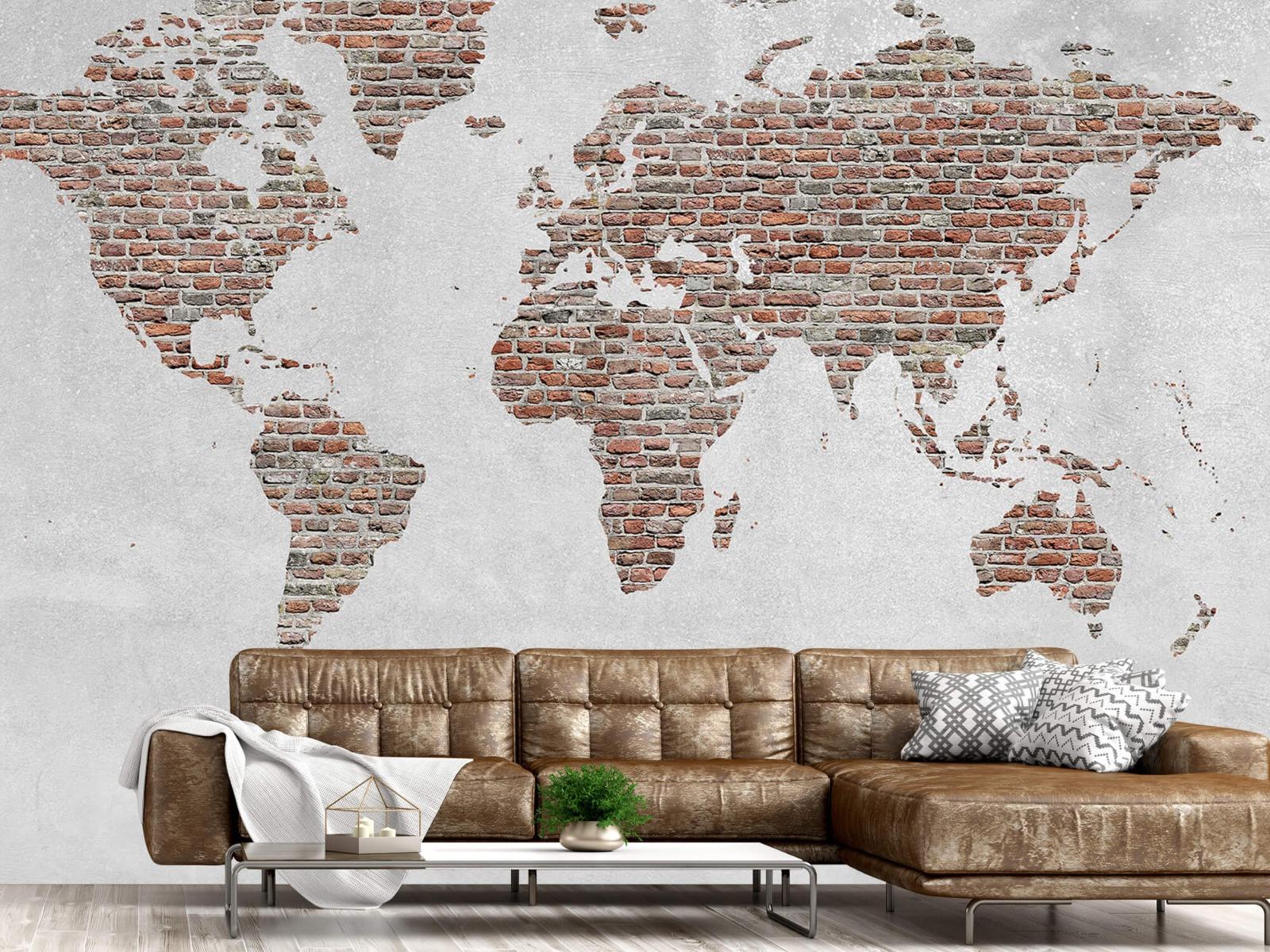 Steen behang - Wereldkaart stenen - Slaapkamer 14