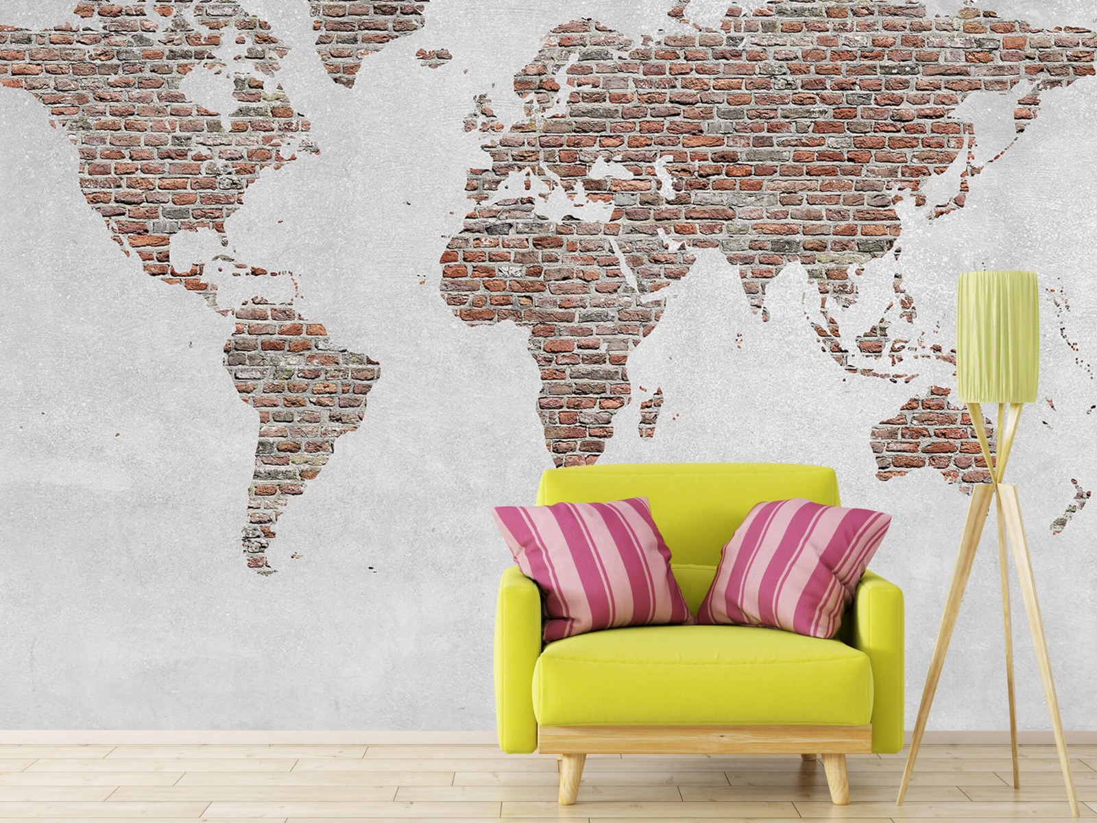 Steen behang - Wereldkaart stenen - Slaapkamer 17