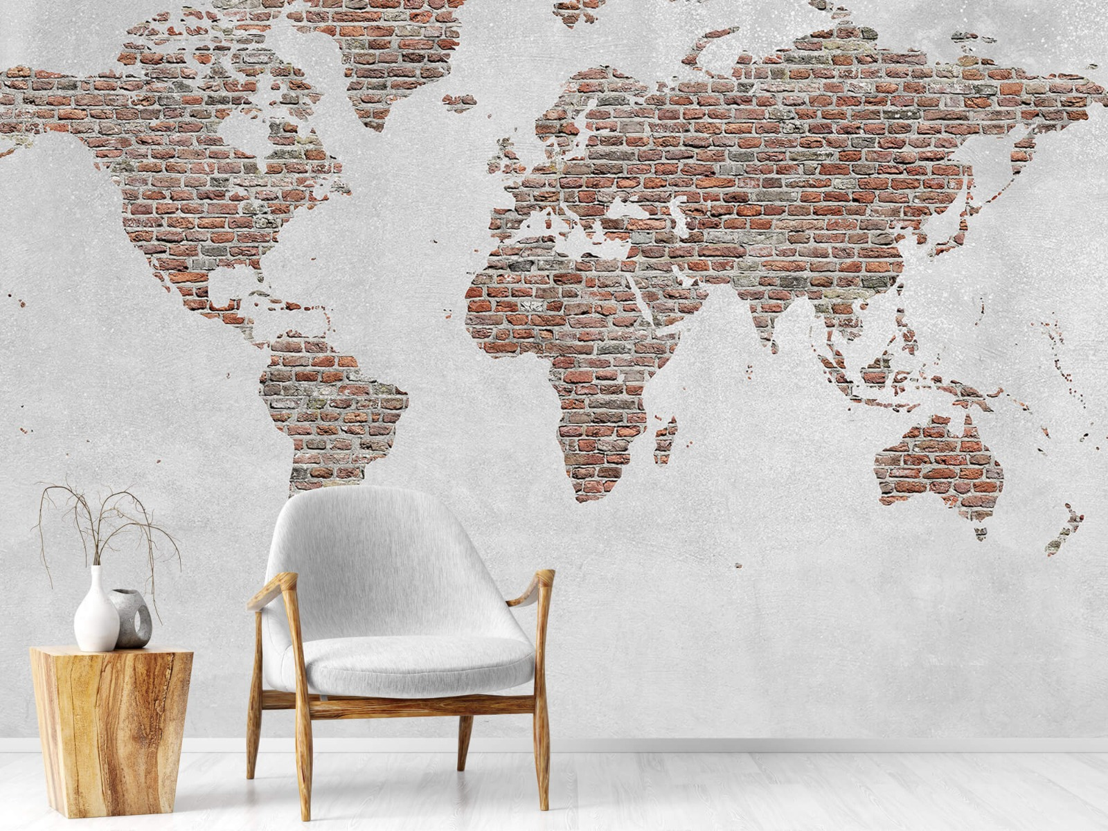 Steen behang - Wereldkaart stenen - Slaapkamer 18