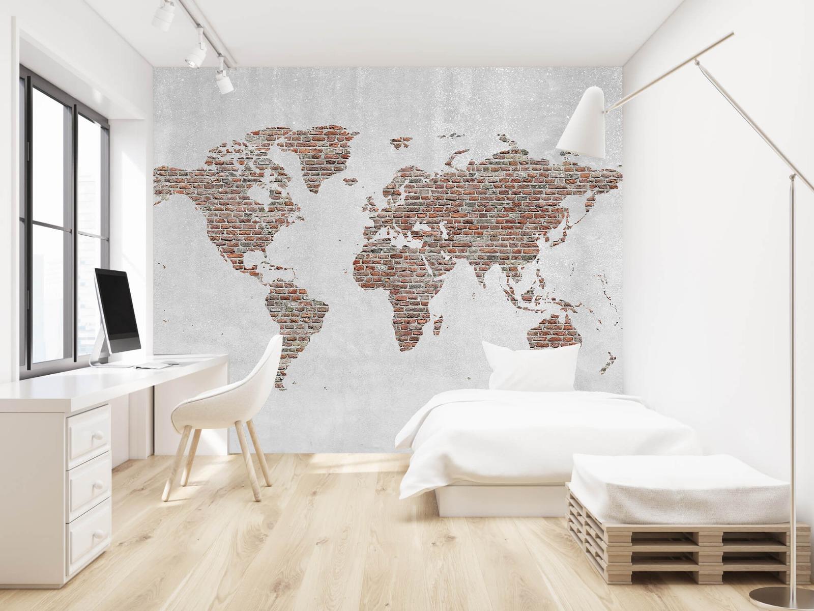 Steen behang - Wereldkaart stenen - Slaapkamer 22