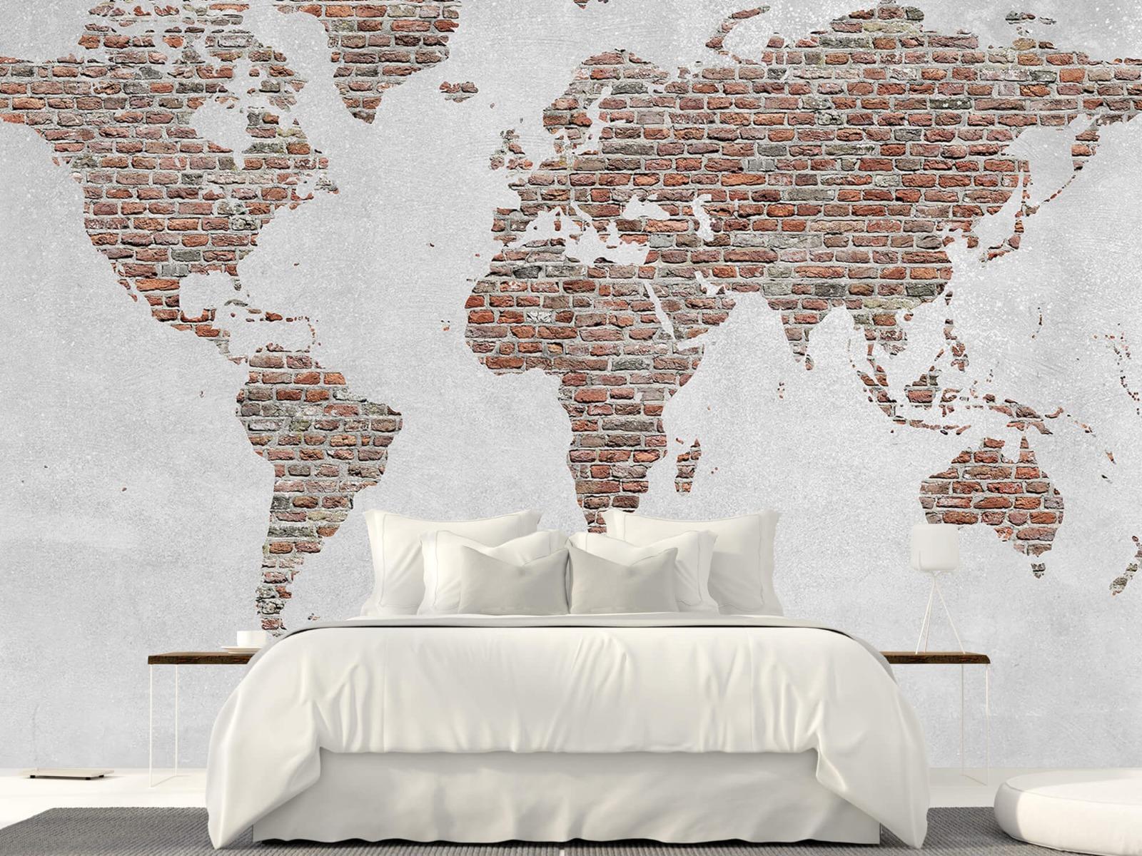 Steen behang - Wereldkaart stenen - Slaapkamer 23