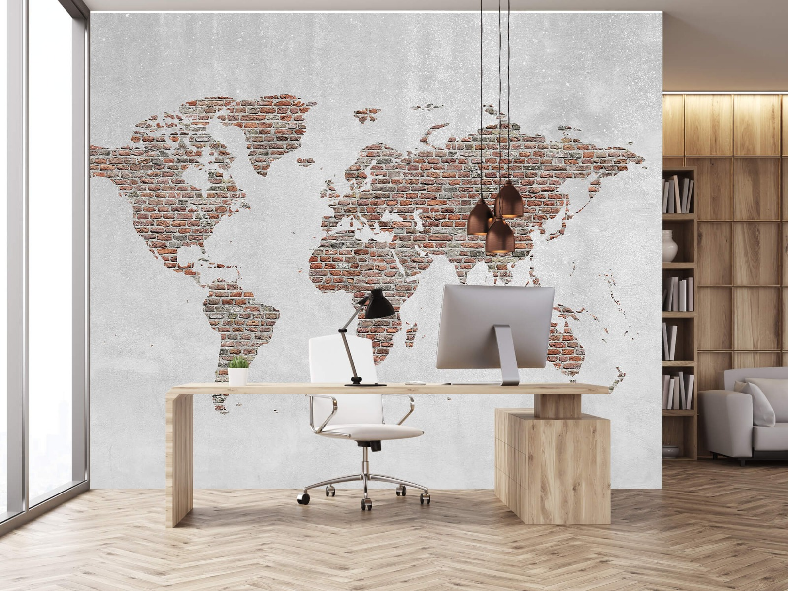 Steen behang - Wereldkaart stenen - Slaapkamer 24