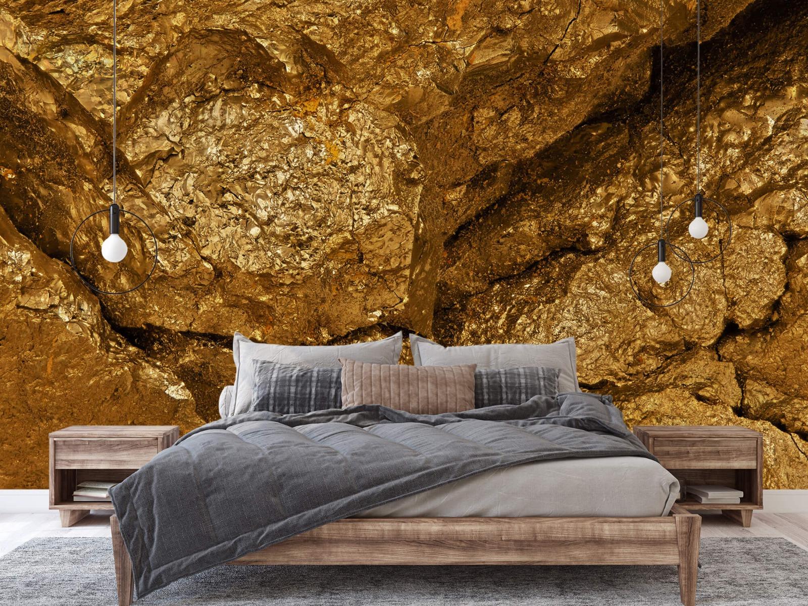 Steen behang - Gouden steen, close-up - Slaapkamer 2
