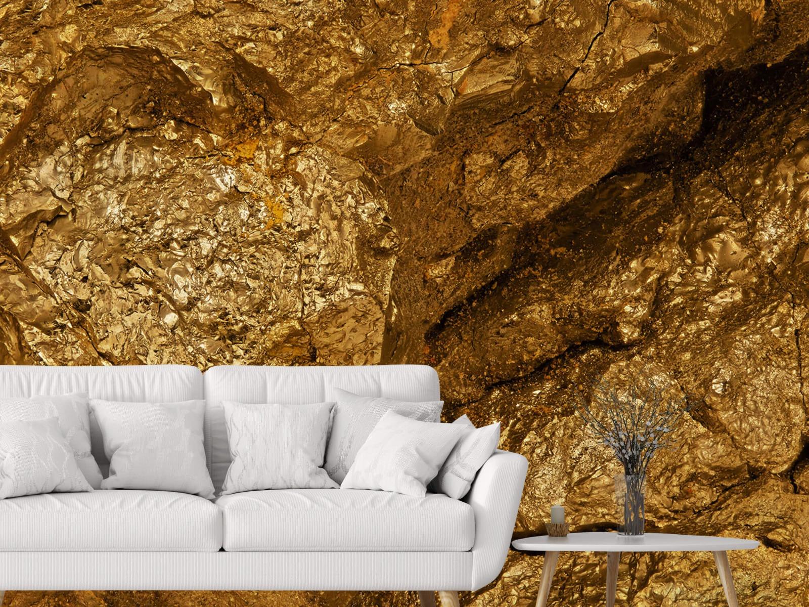 Steen behang - Gouden steen, close-up - Slaapkamer 3