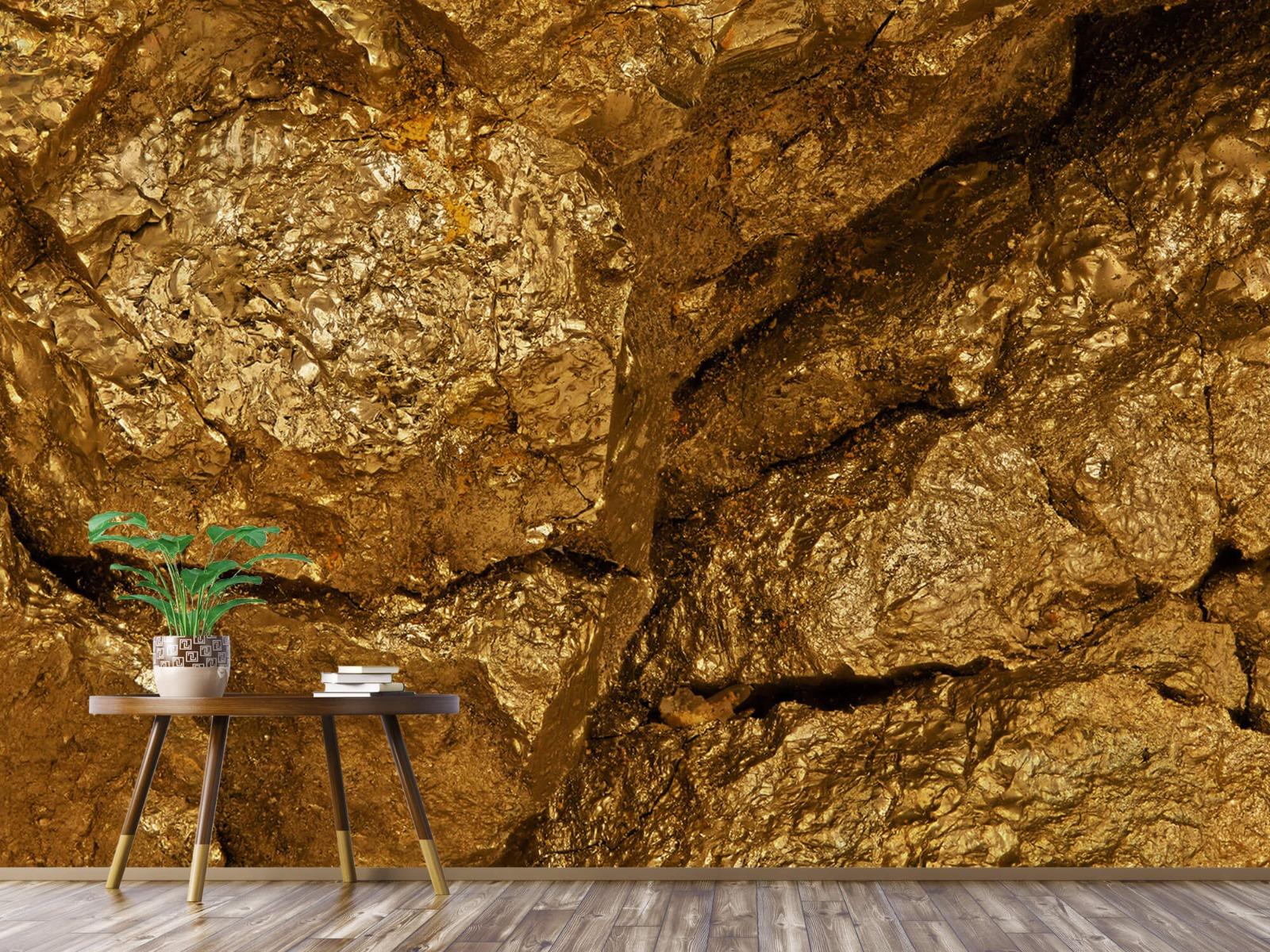 Steen behang - Gouden steen, close-up - Slaapkamer 4