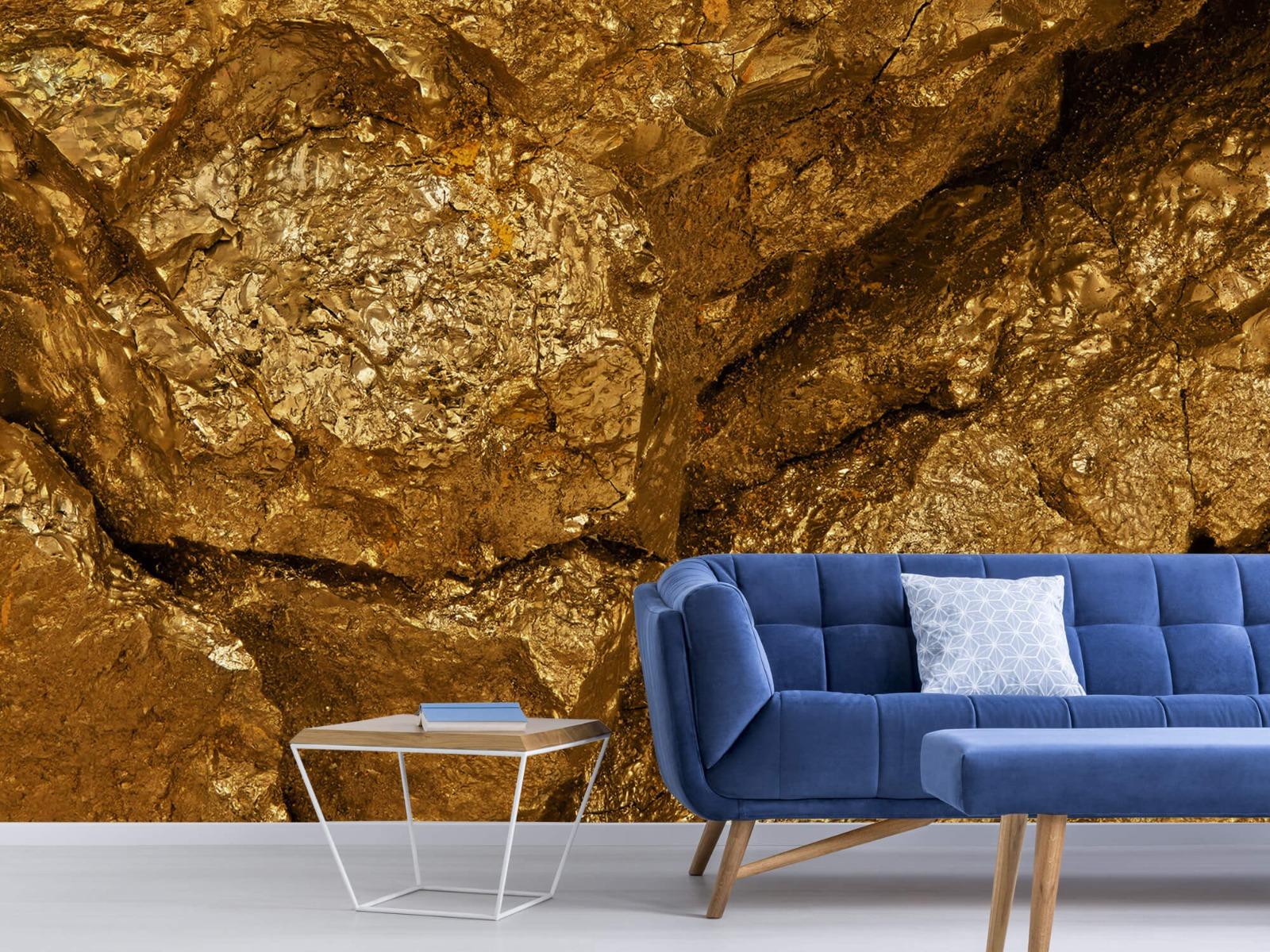 Steen behang - Gouden steen, close-up - Slaapkamer 5