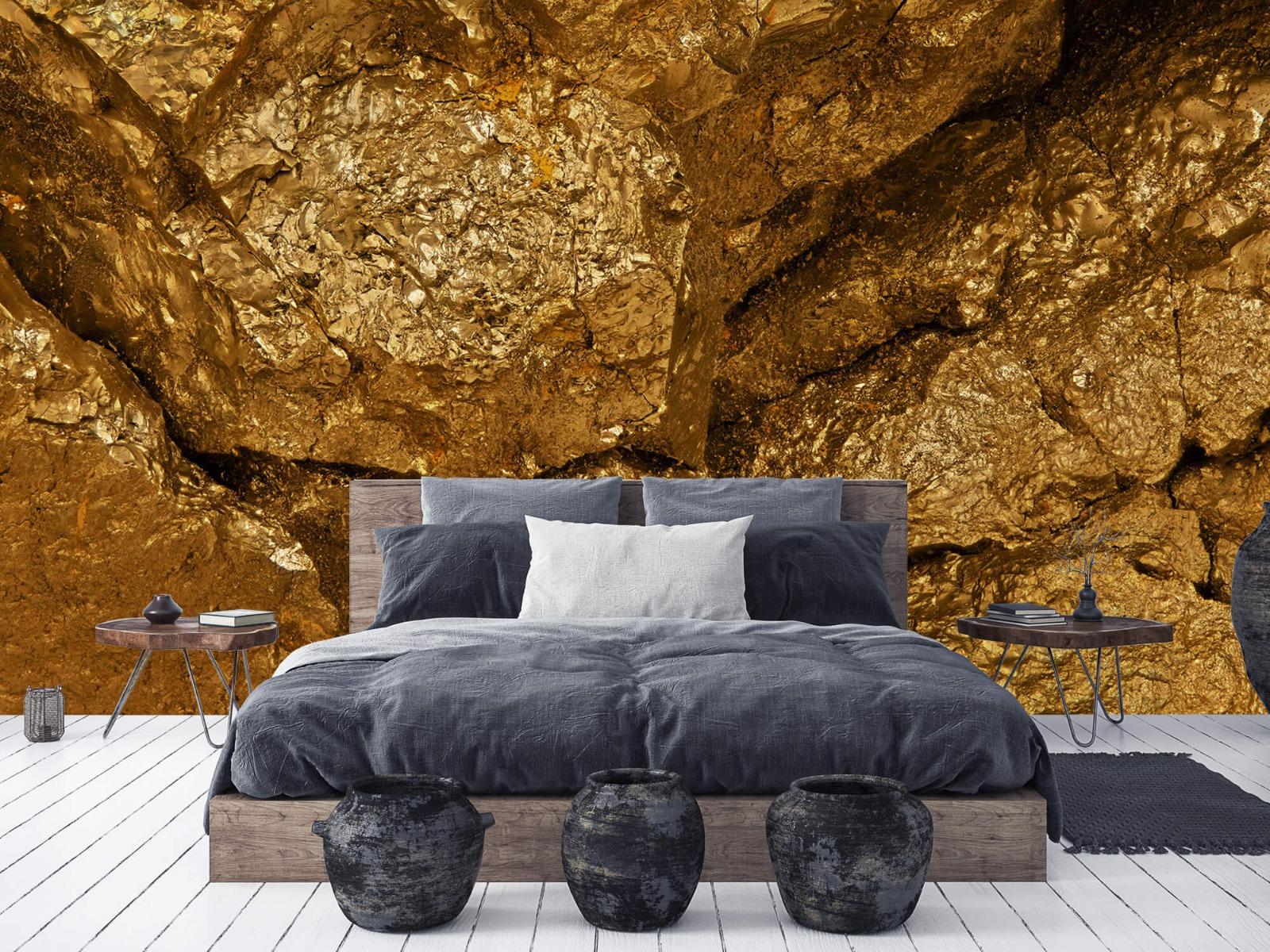 Steen behang - Gouden steen, close-up - Slaapkamer 6