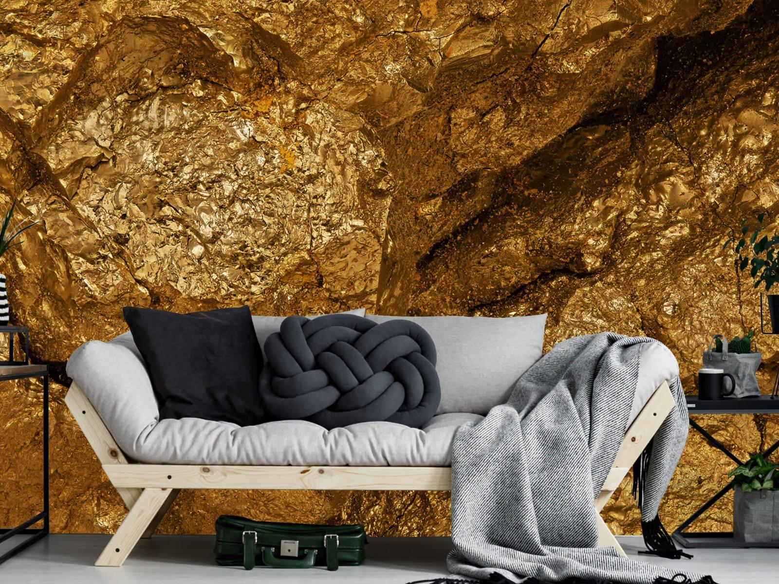 Steen behang - Gouden steen, close-up - Slaapkamer 7