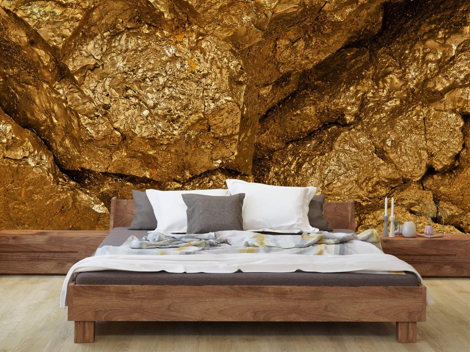Steen behang - Gouden steen, close-up - Slaapkamer 8
