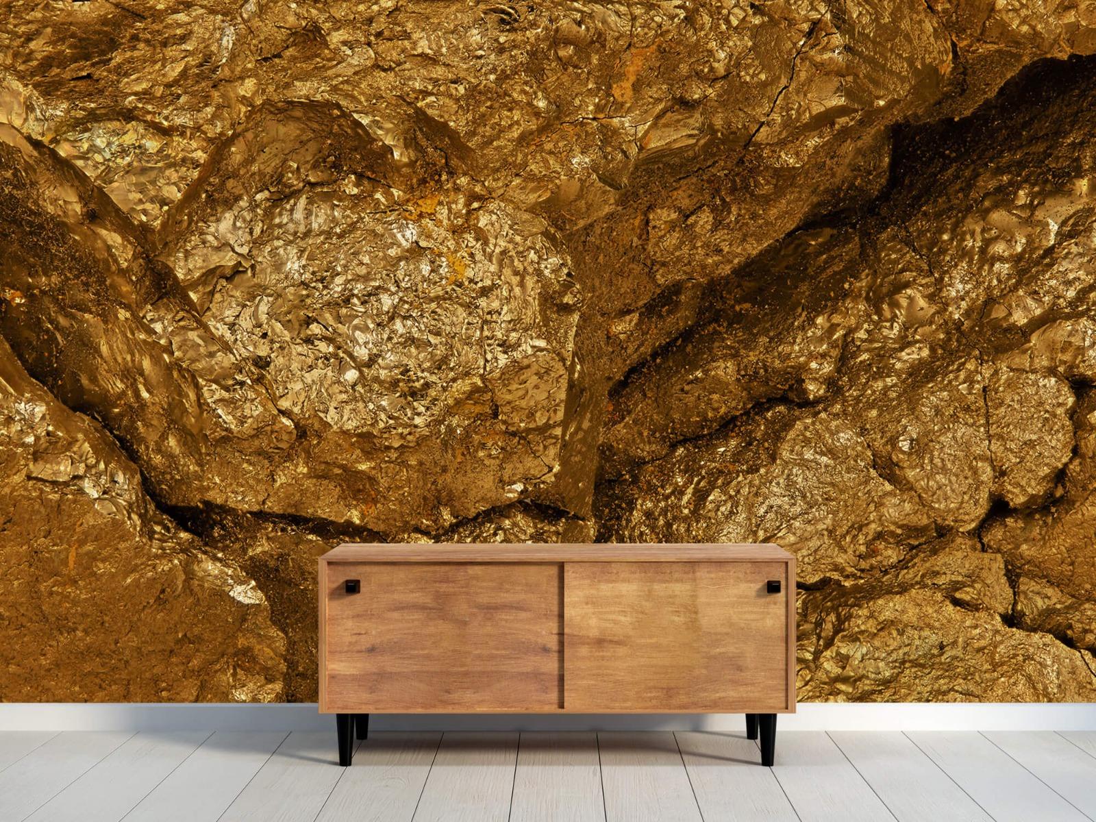 Steen behang - Gouden steen, close-up - Slaapkamer 10