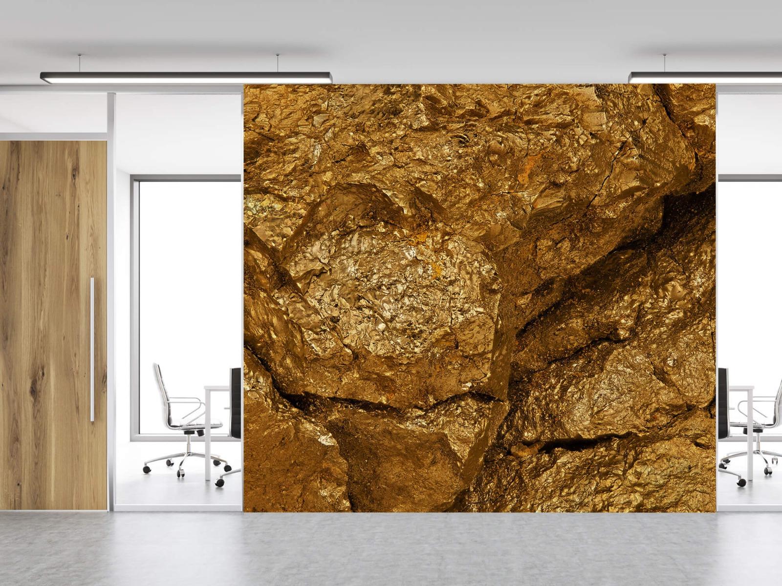 Steen behang - Gouden steen, close-up - Slaapkamer 12