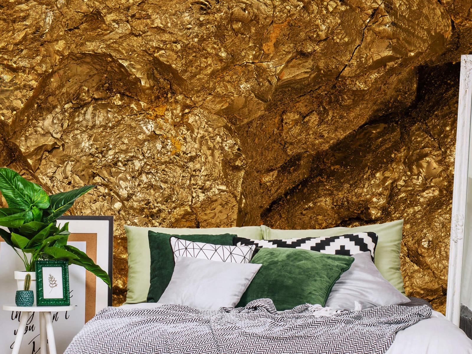 Steen behang - Gouden steen, close-up - Slaapkamer 13