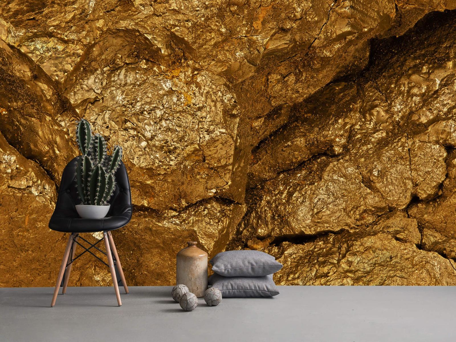 Steen behang - Gouden steen, close-up - Slaapkamer 1