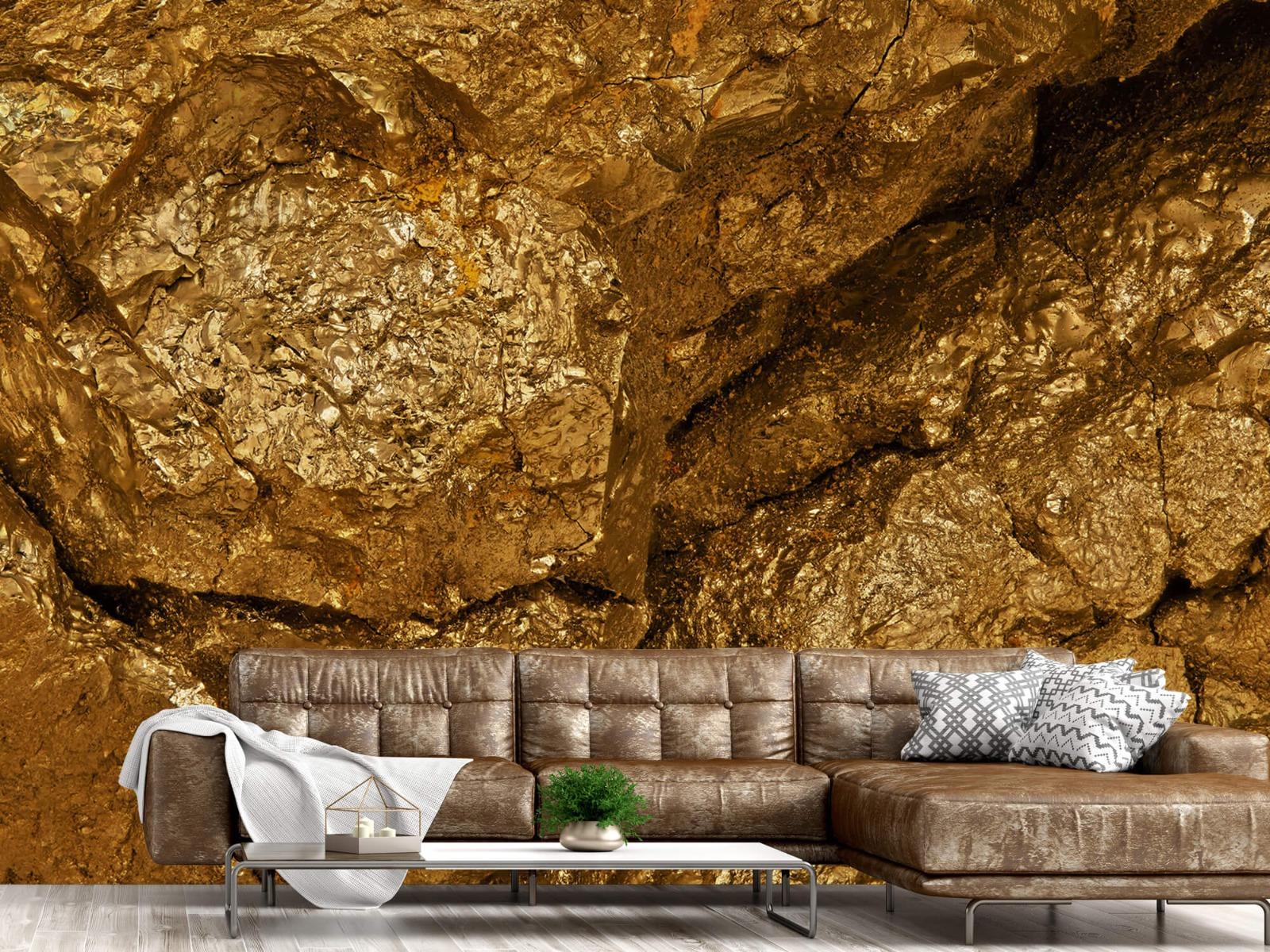 Steen behang - Gouden steen, close-up - Slaapkamer 14