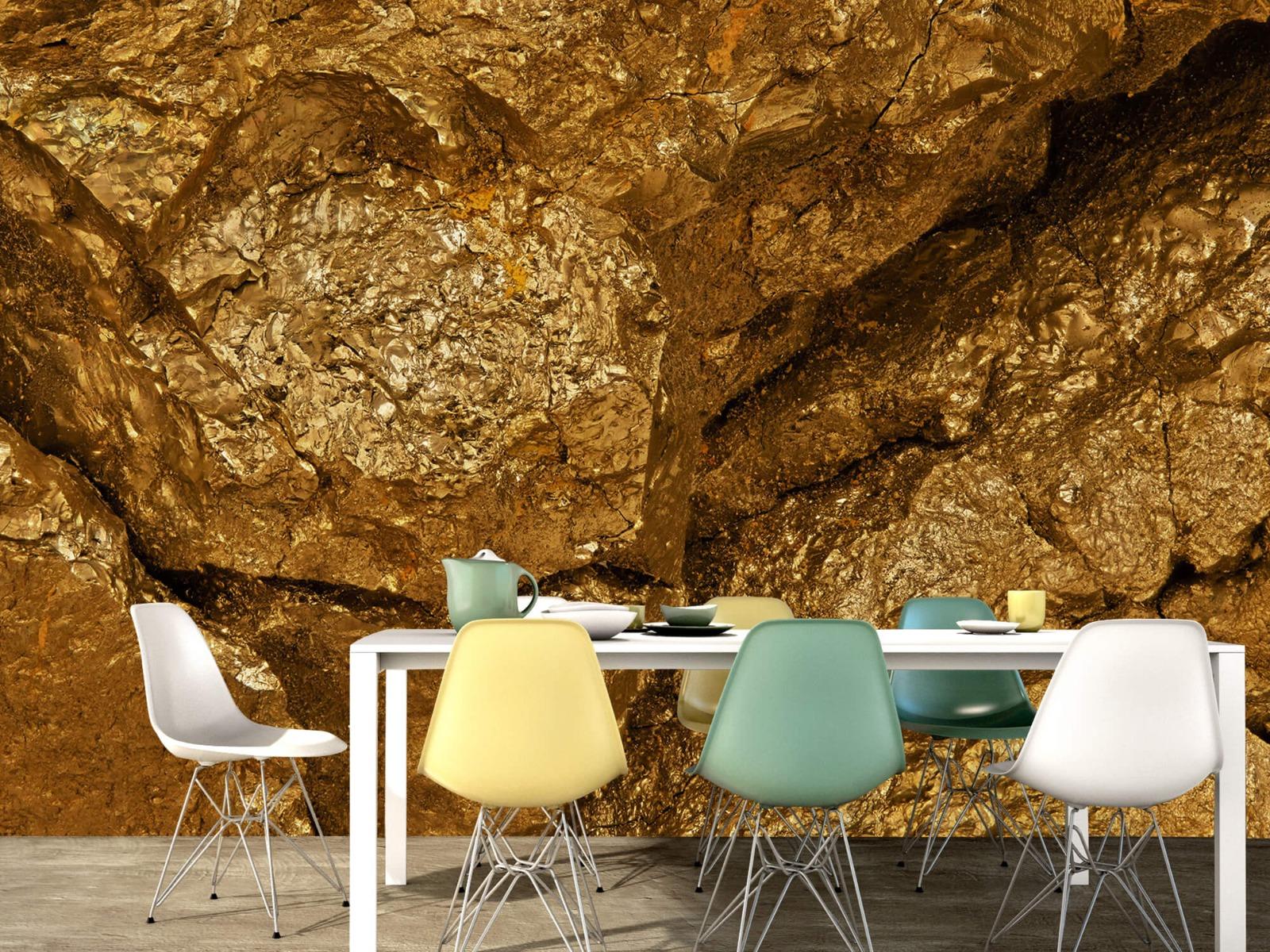 Steen behang - Gouden steen, close-up - Slaapkamer 15