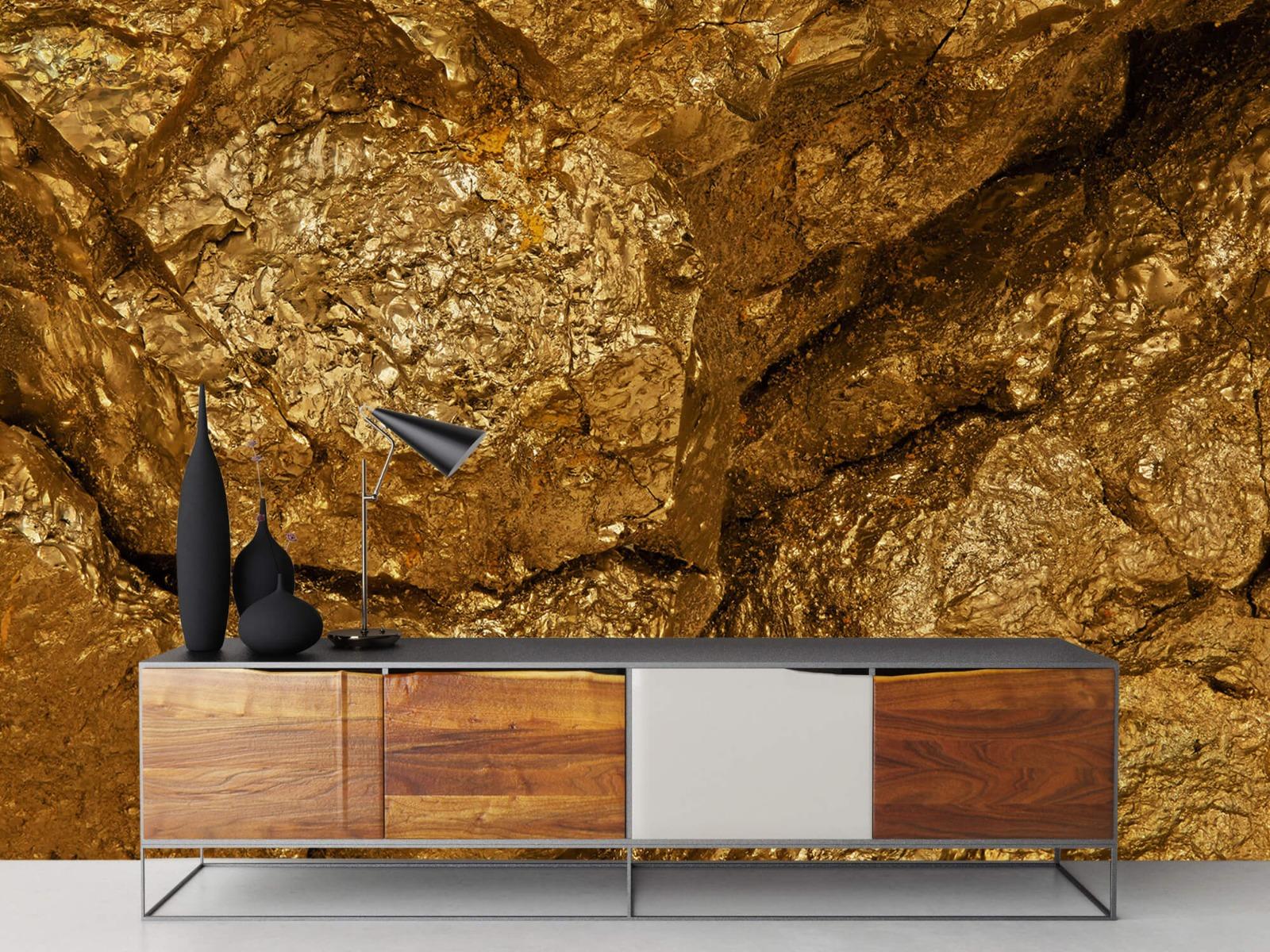 Steen behang - Gouden steen, close-up - Slaapkamer 16