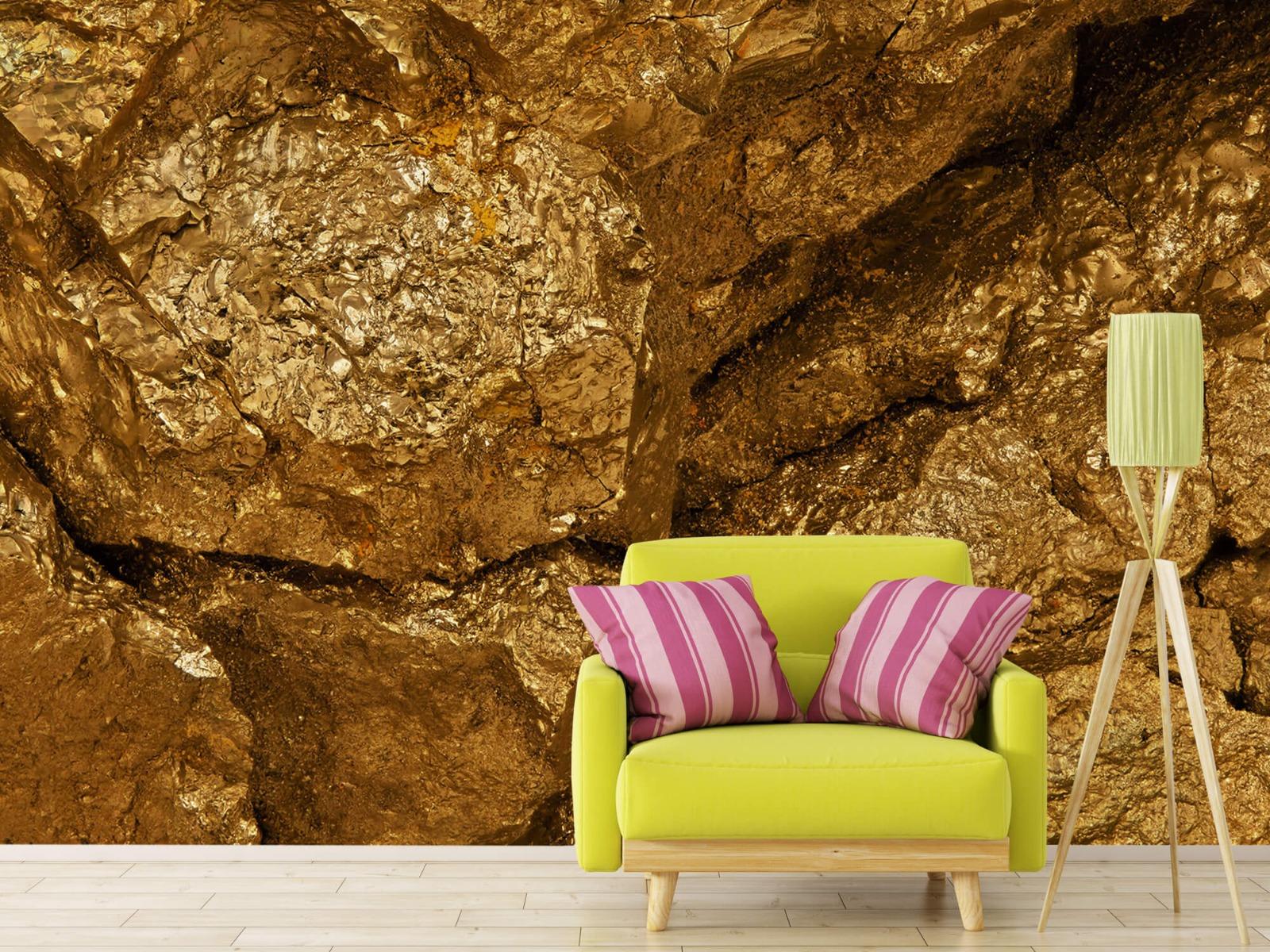 Steen behang - Gouden steen, close-up - Slaapkamer 17