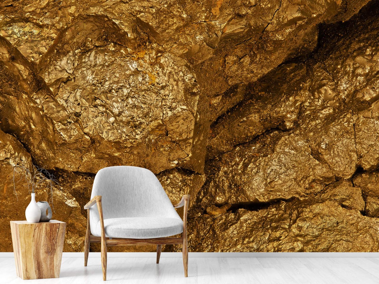 Steen behang - Gouden steen, close-up - Slaapkamer 18