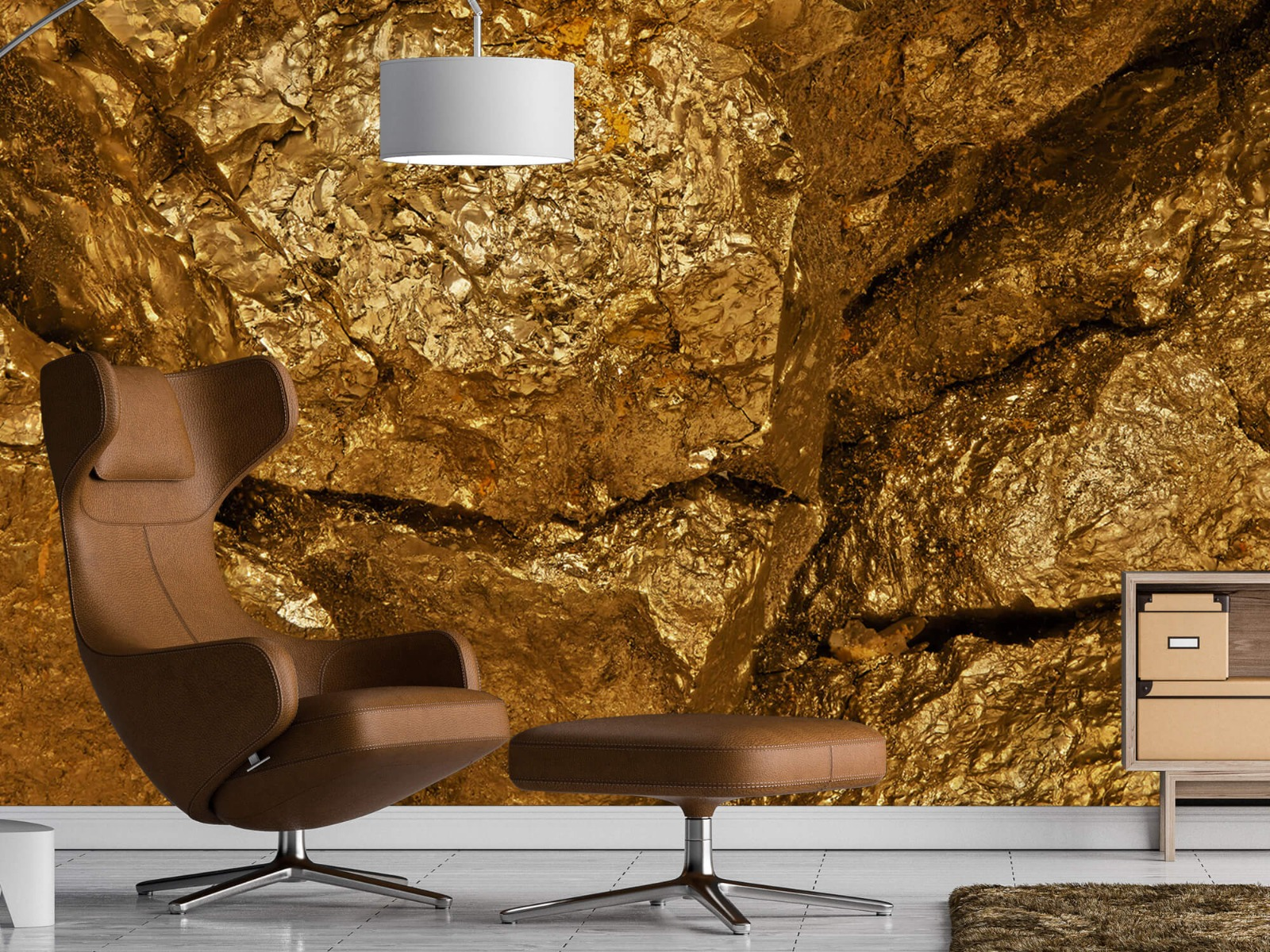 Steen behang - Gouden steen, close-up - Slaapkamer 19