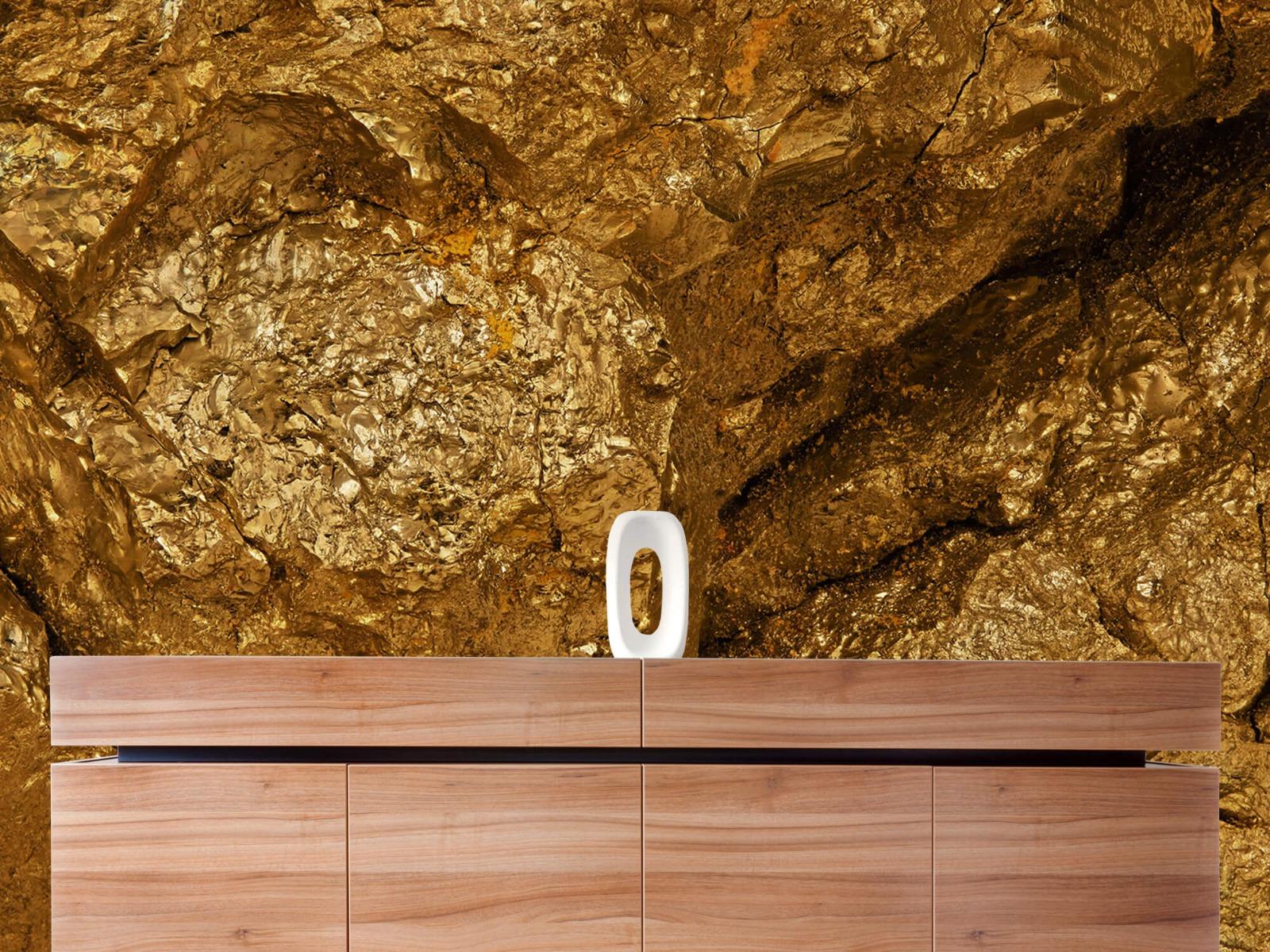 Steen behang - Gouden steen, close-up - Slaapkamer 20