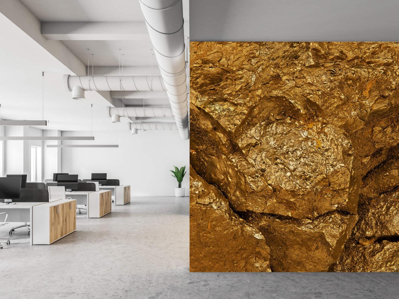 Steen behang - Gouden steen, close-up - Slaapkamer 21