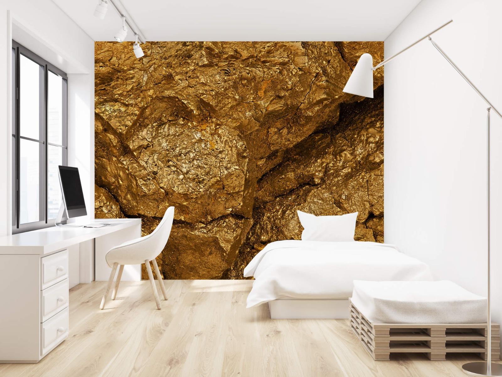 Steen behang - Gouden steen, close-up - Slaapkamer 22