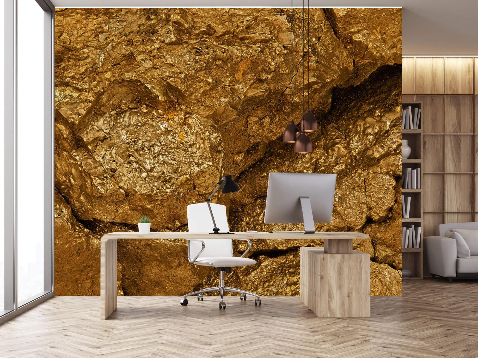 Steen behang - Gouden steen, close-up - Slaapkamer 24