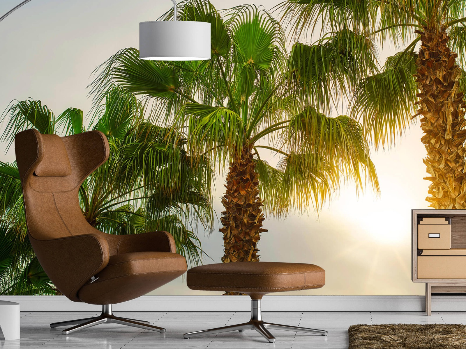 Palmbomen - Palmbomen met zon - Gang 19