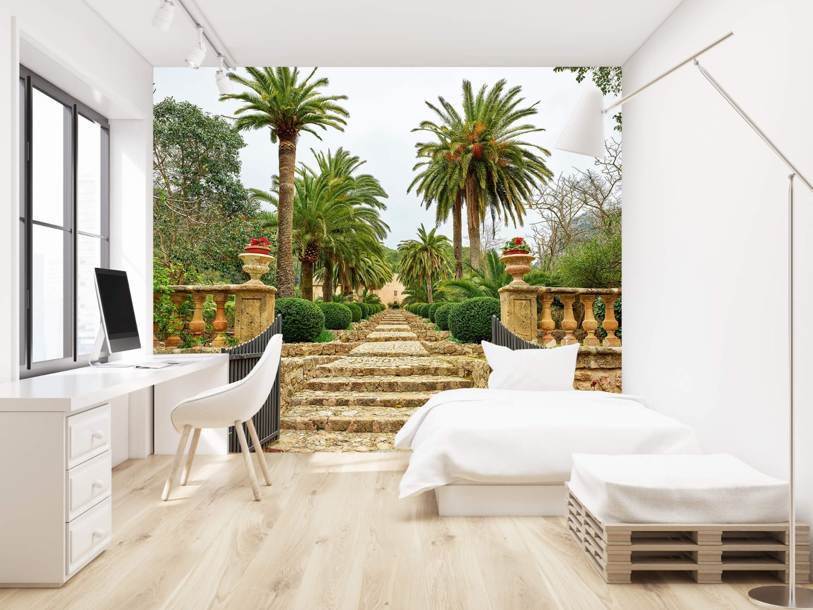 Palmbomen - Palmbomen langs stenen trap - Woonkamer 22