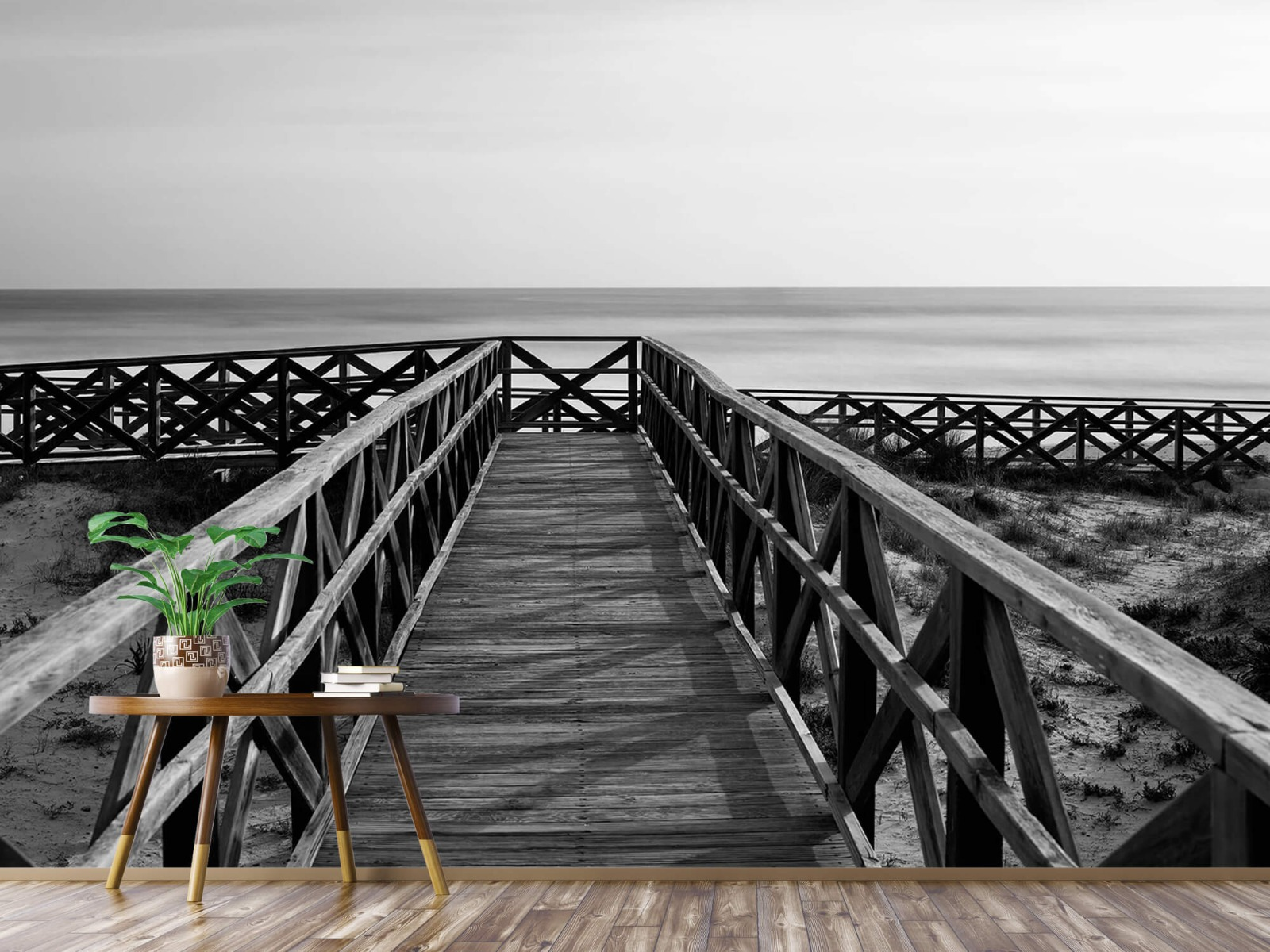 Zwart Wit behang - Loopbrug naar het strand - Hal 4