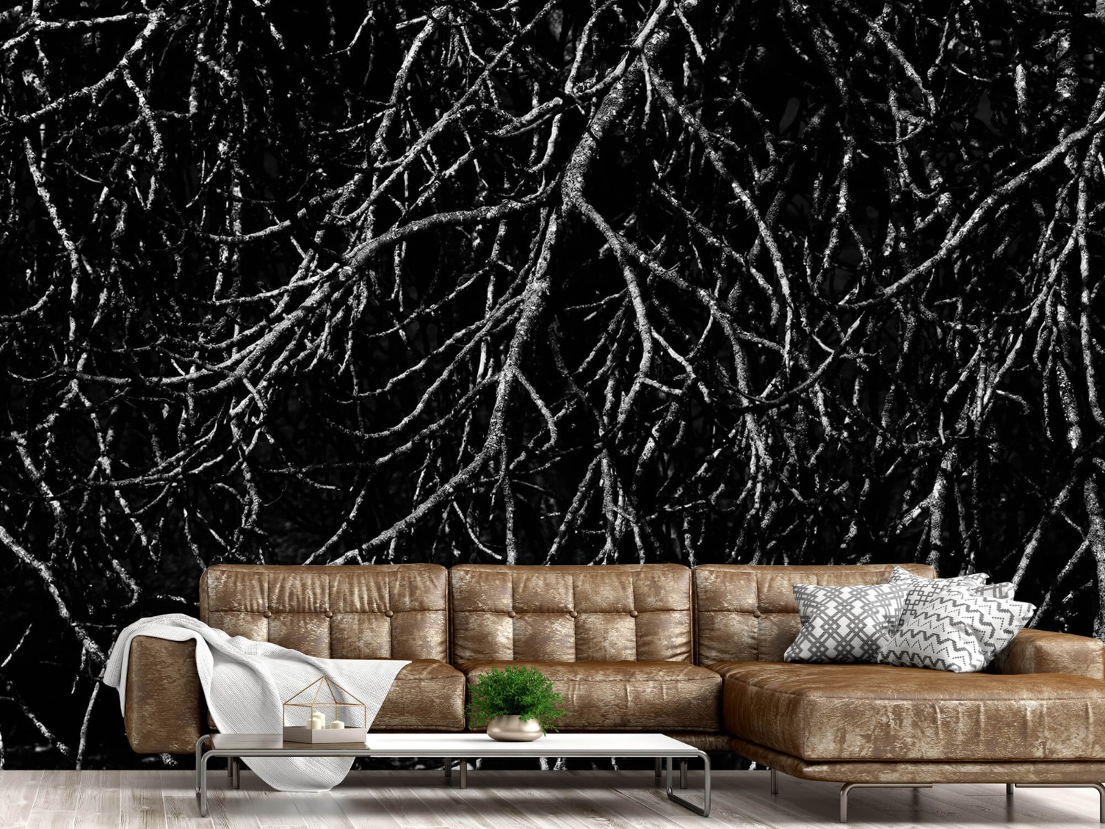 Zwart Wit behang - Boomtakken in zwart wit - Magazijn 15