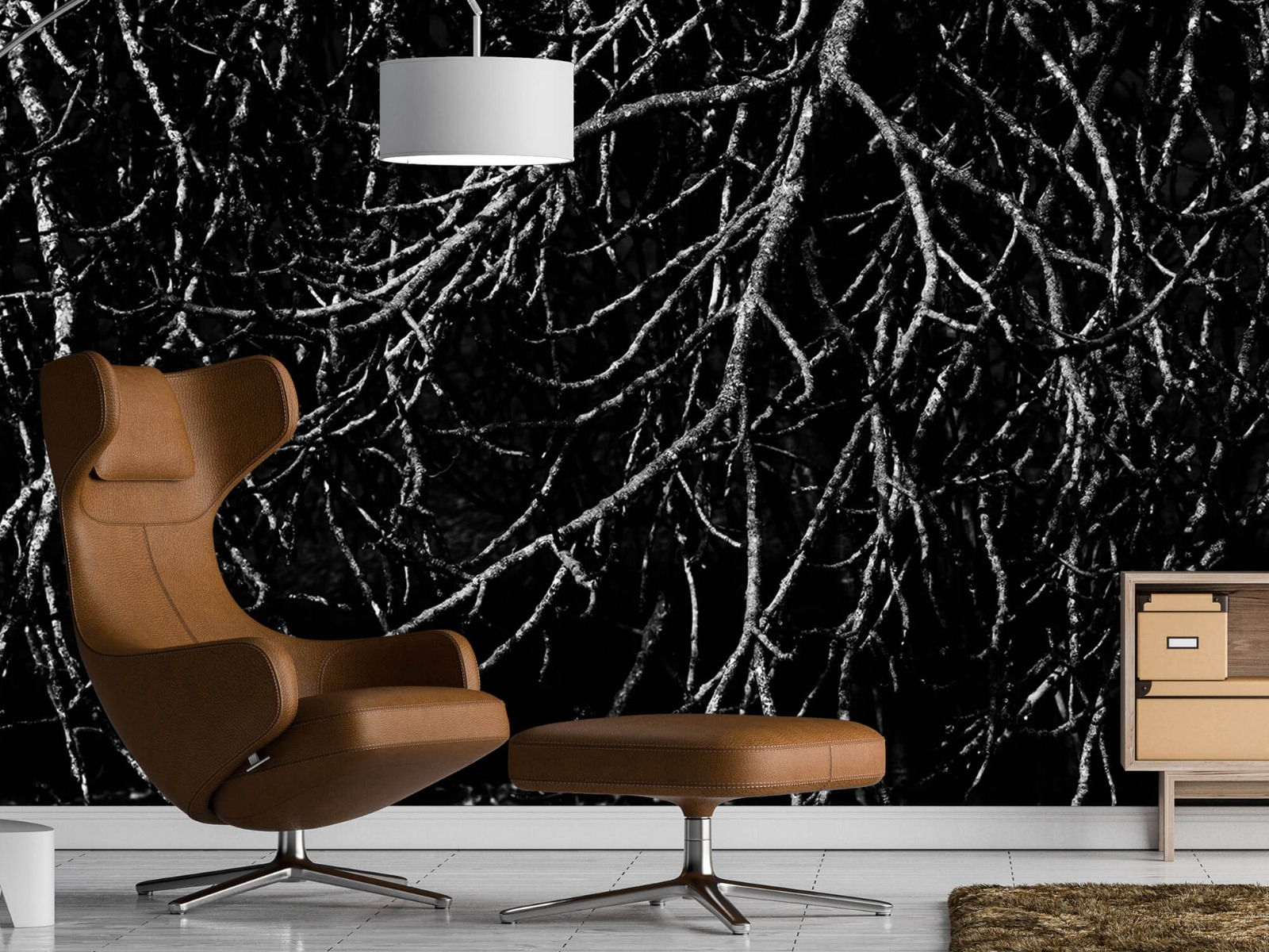 Zwart Wit behang - Boomtakken in zwart wit - Magazijn 20