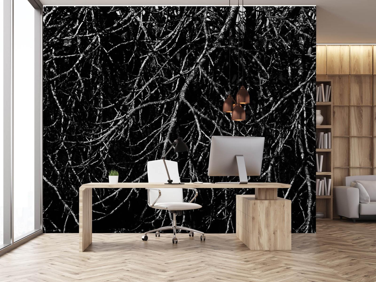 Zwart Wit behang - Boomtakken in zwart wit - Magazijn 24