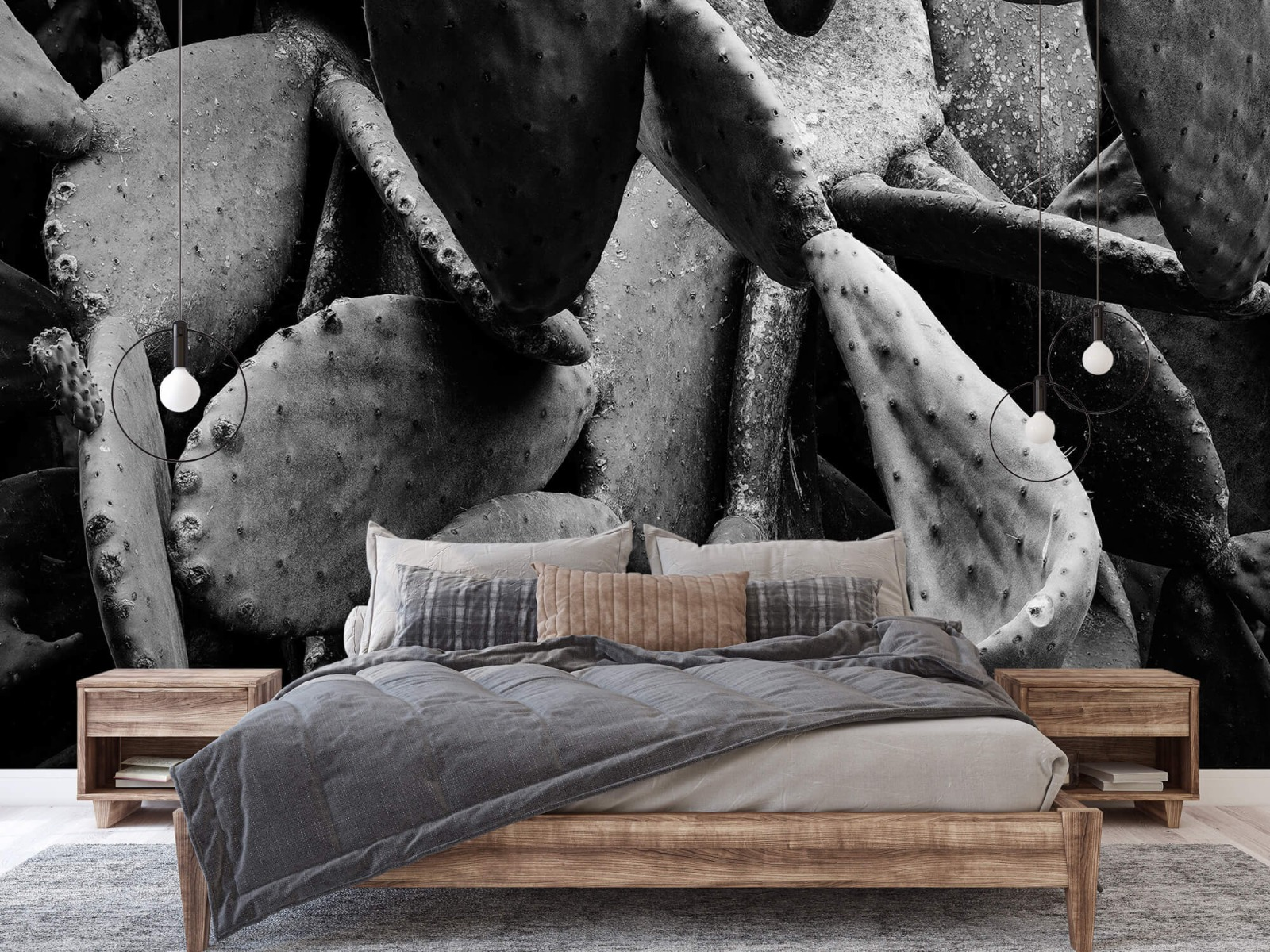 Zwart Wit behang - Cactus, zwart-wit - Slaapkamer 2