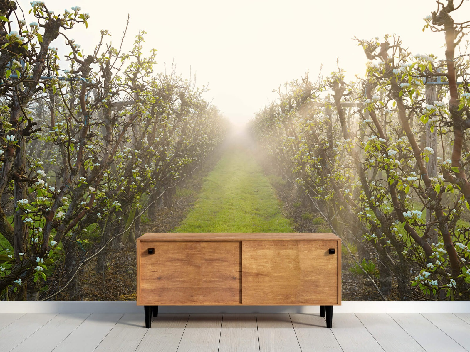 Bomen - Perenbloesem in mist - Slaapkamer 10