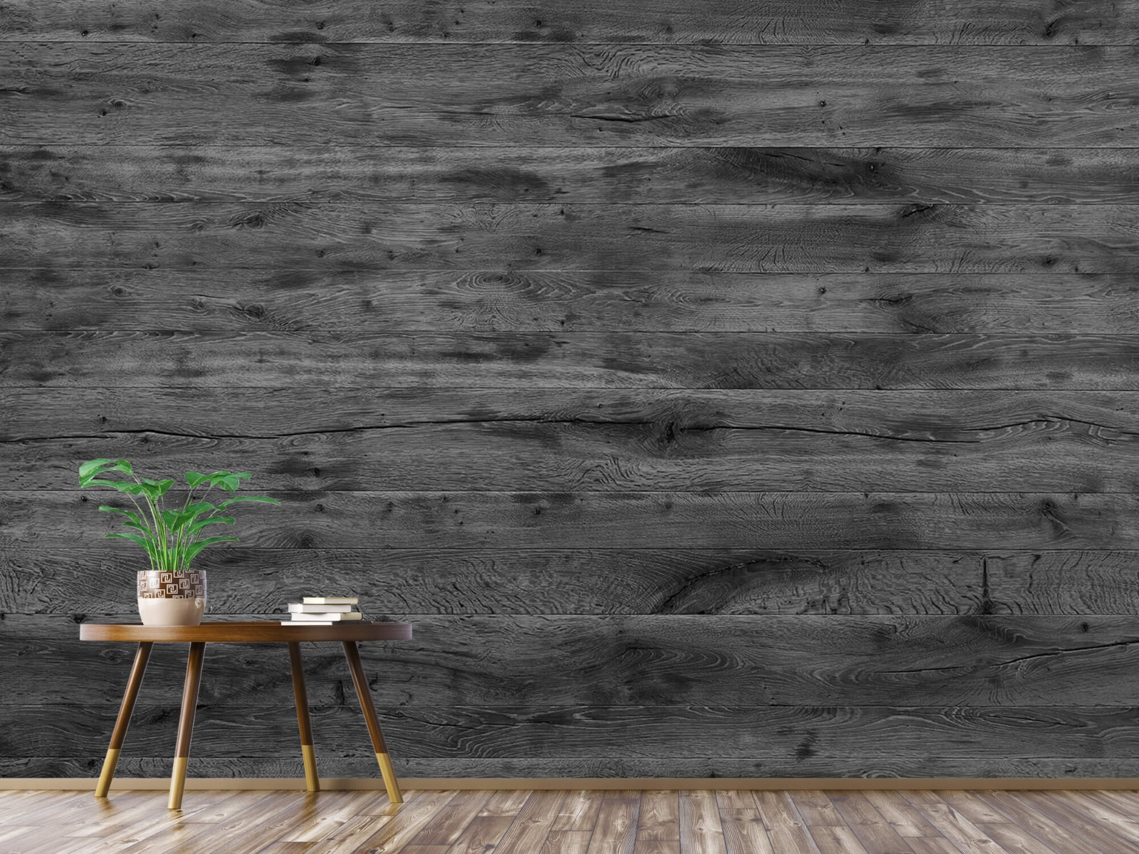 Hout behang - Grijze houten planken - Directie 6