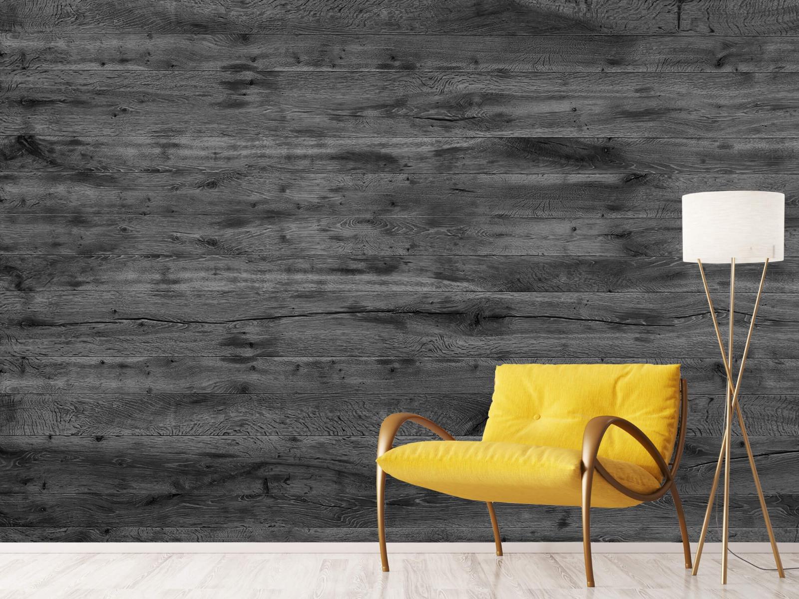Hout behang - Grijze houten planken - Directie 12