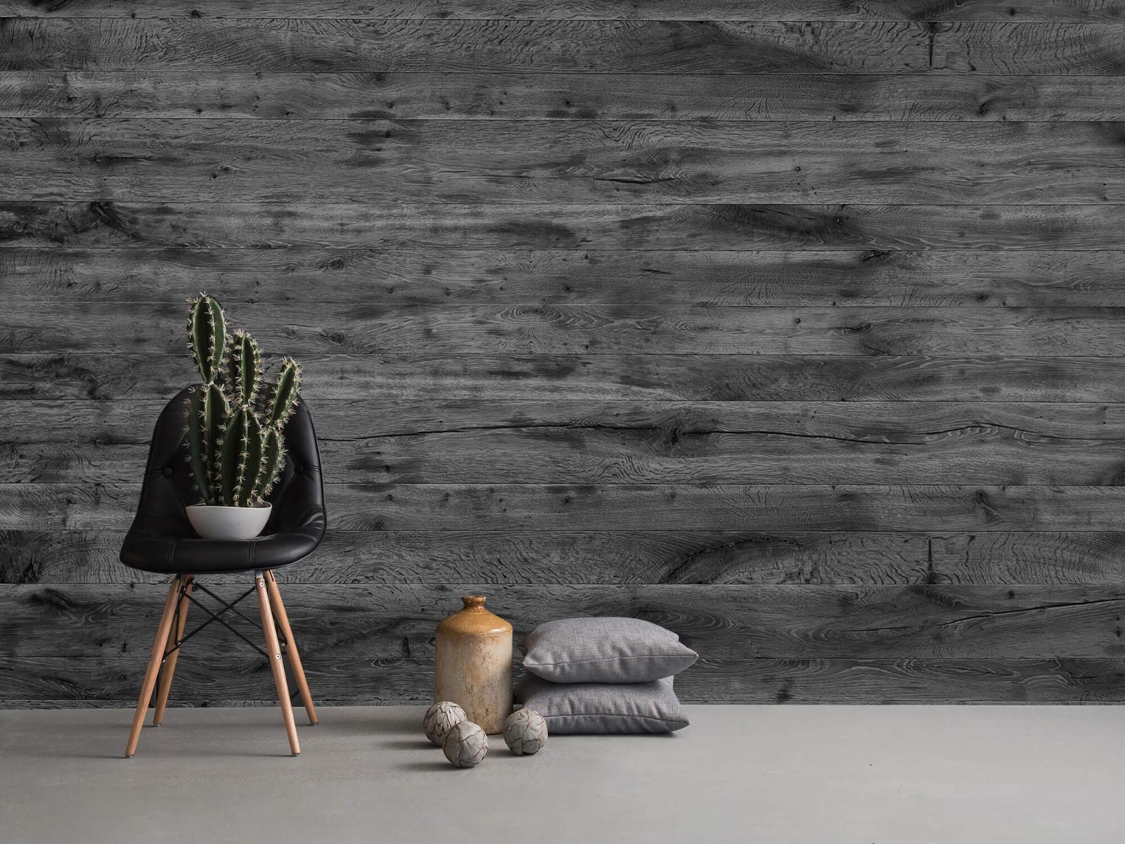 Hout behang - Grijze houten planken - Directie 15