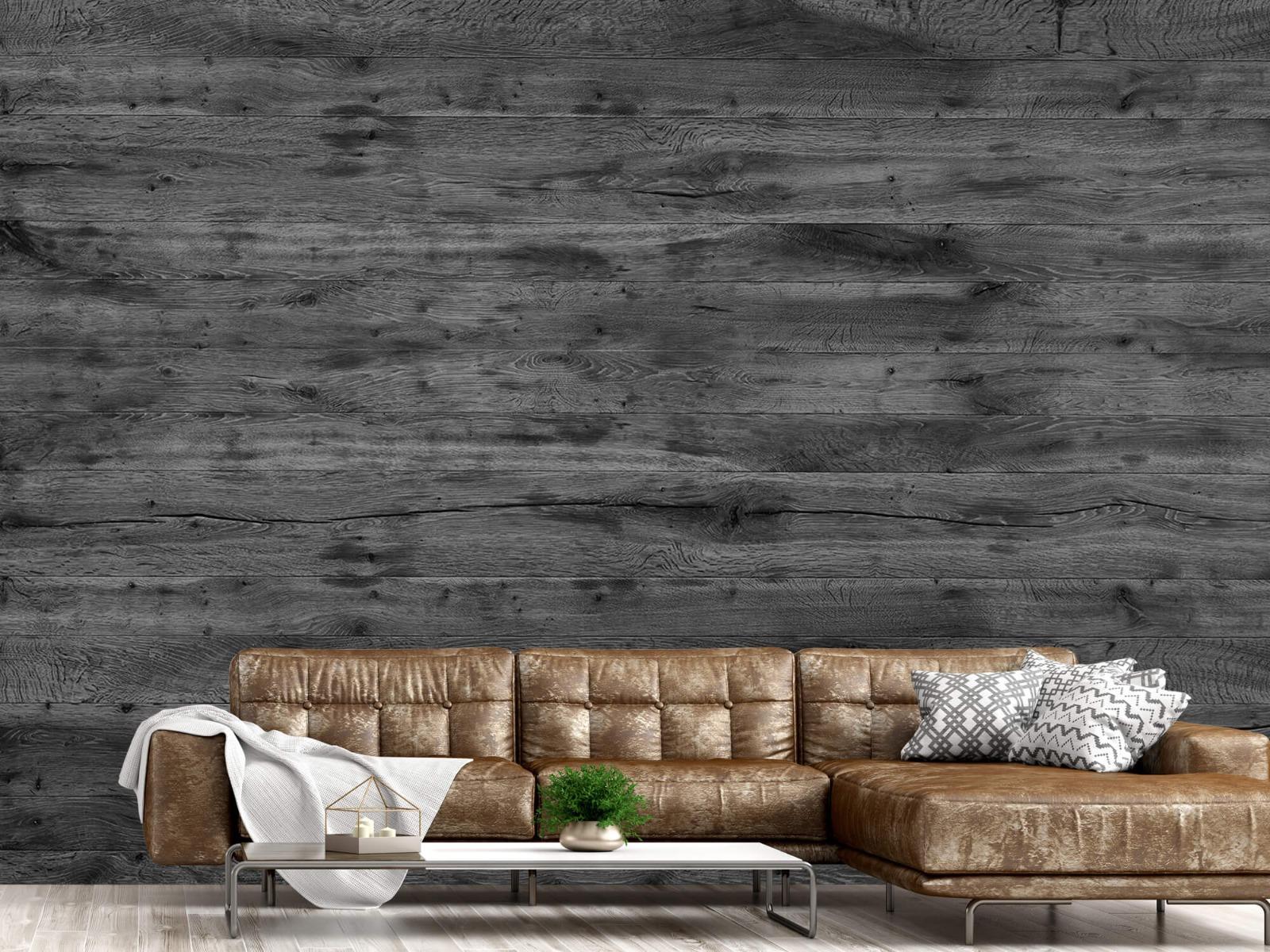 Hout behang - Grijze houten planken - Directie 16