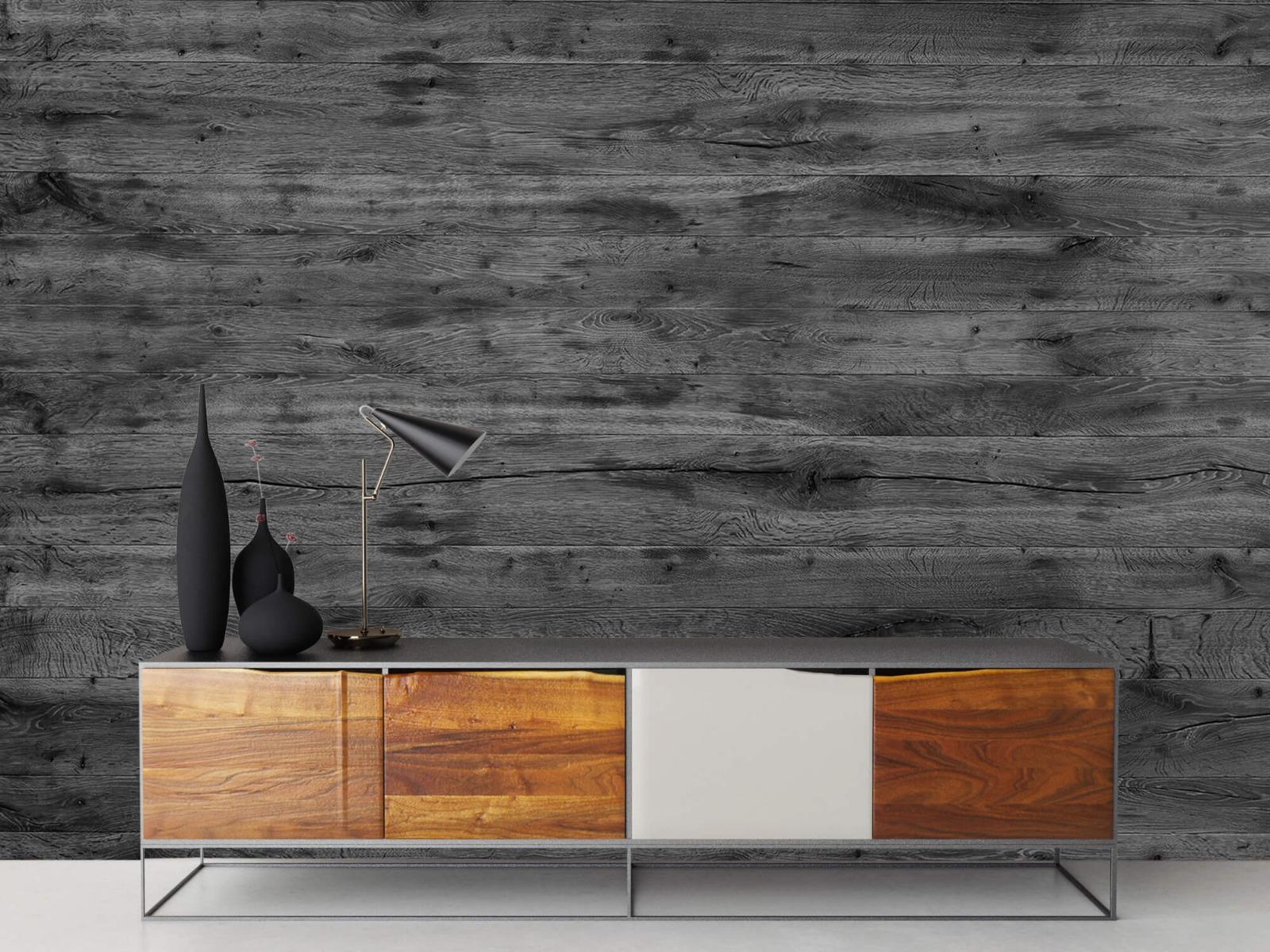 Hout behang - Grijze houten planken - Directie 18