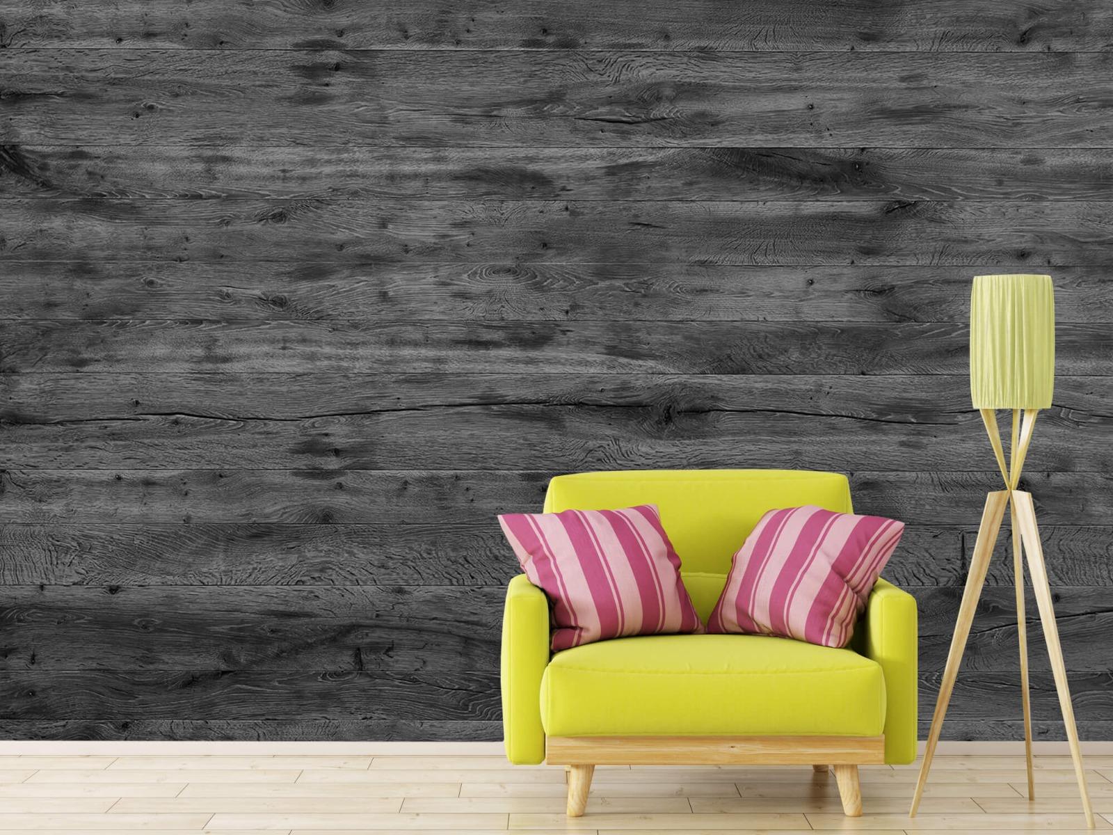 Hout behang - Grijze houten planken - Directie 3
