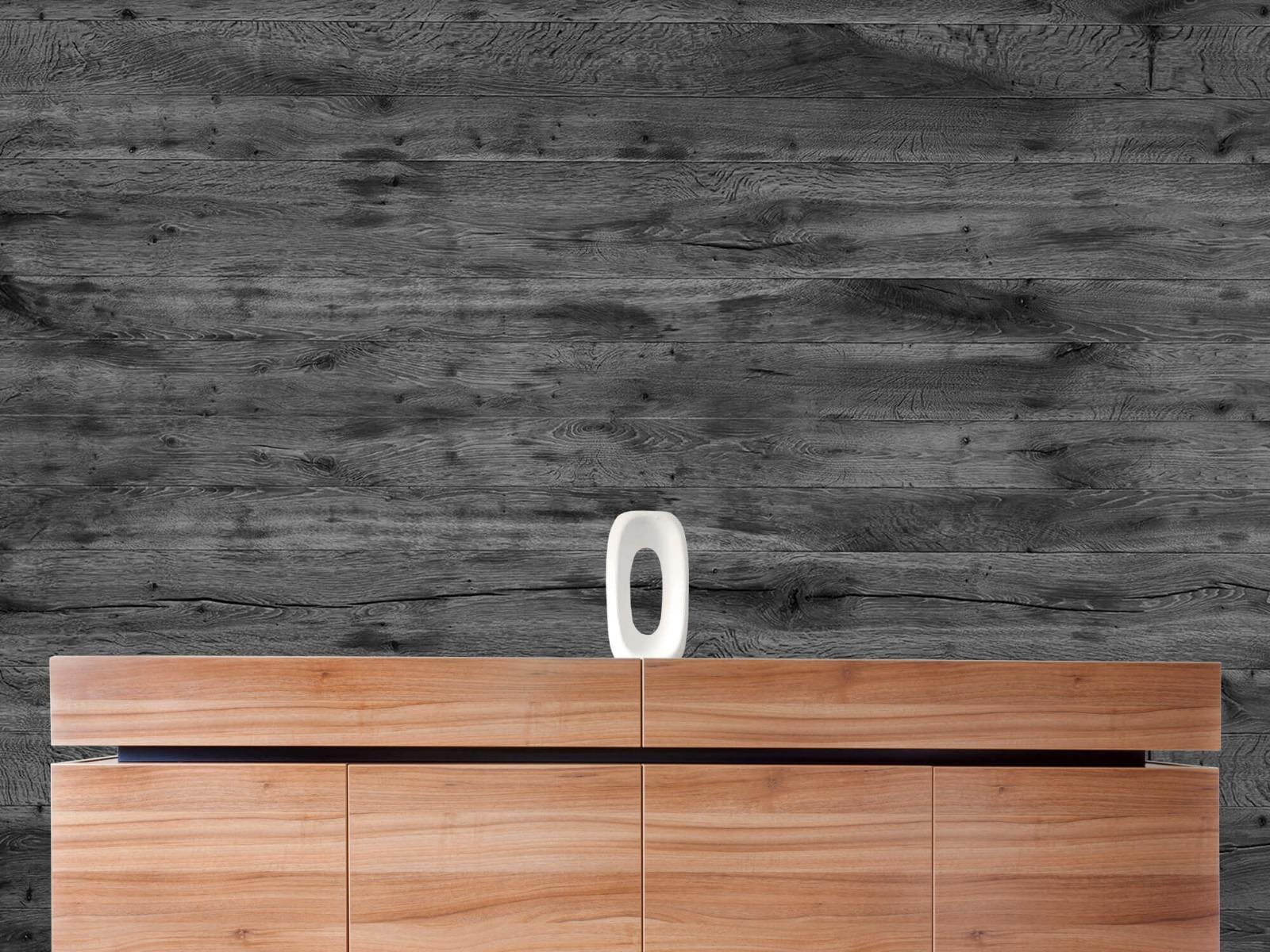 Hout behang - Grijze houten planken - Directie 21