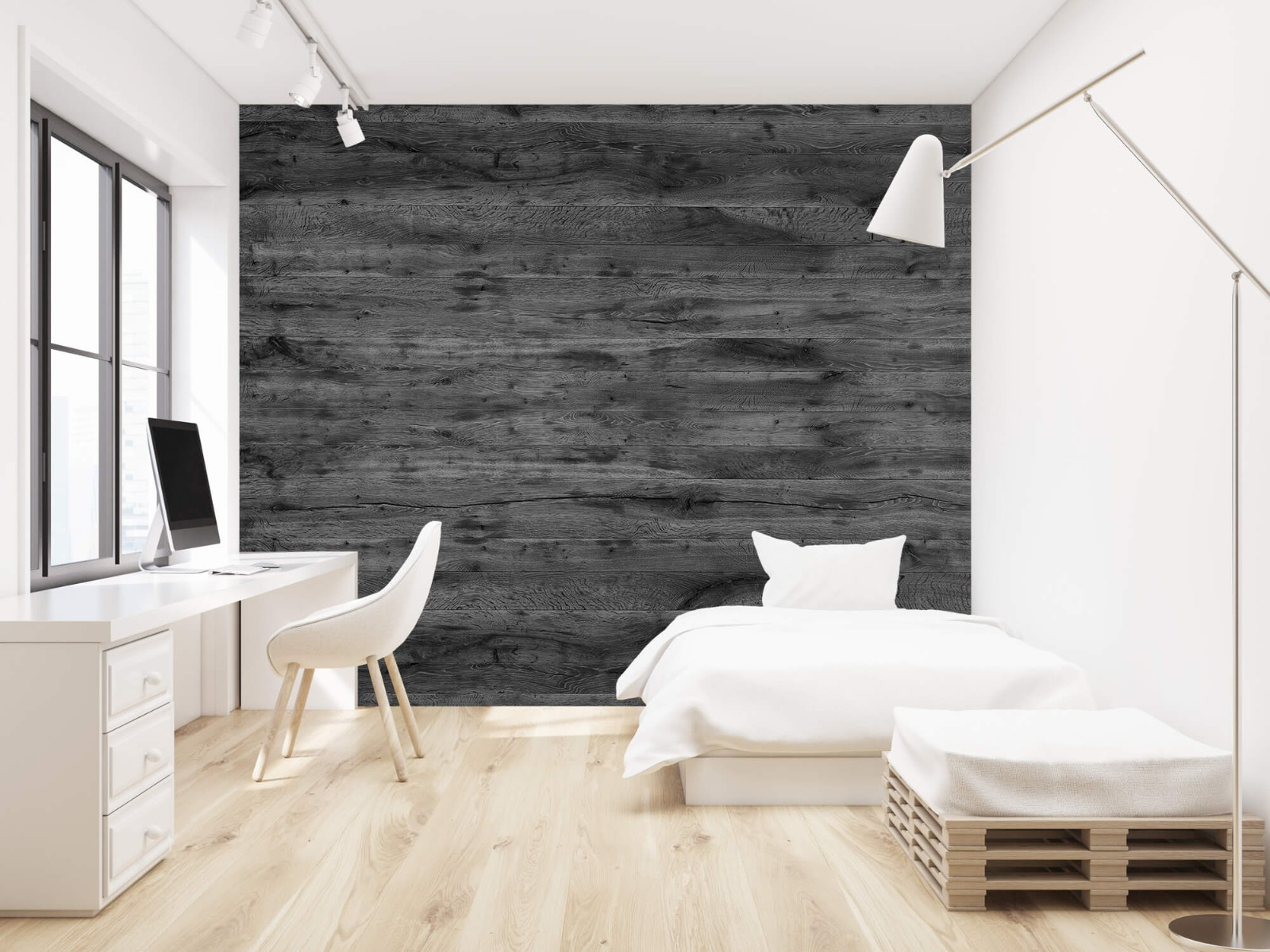 Hout behang - Grijze houten planken - Directie 23