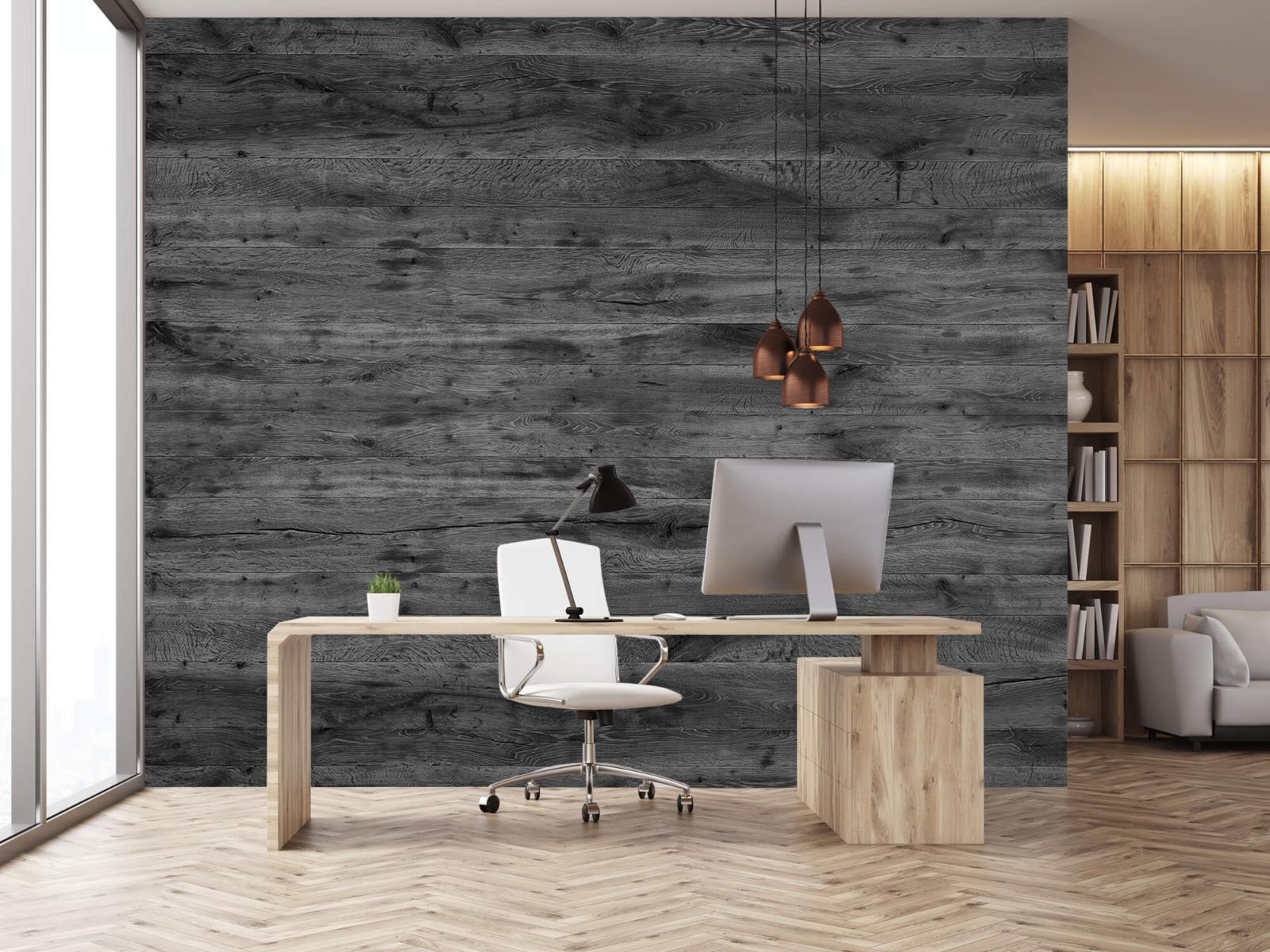 Hout behang - Grijze houten planken - Directie 2
