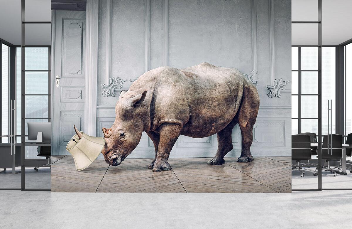 3D Neushoorn met lampenkap 3