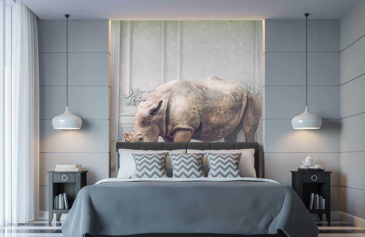 3D Neushoorn met lampenkap 6