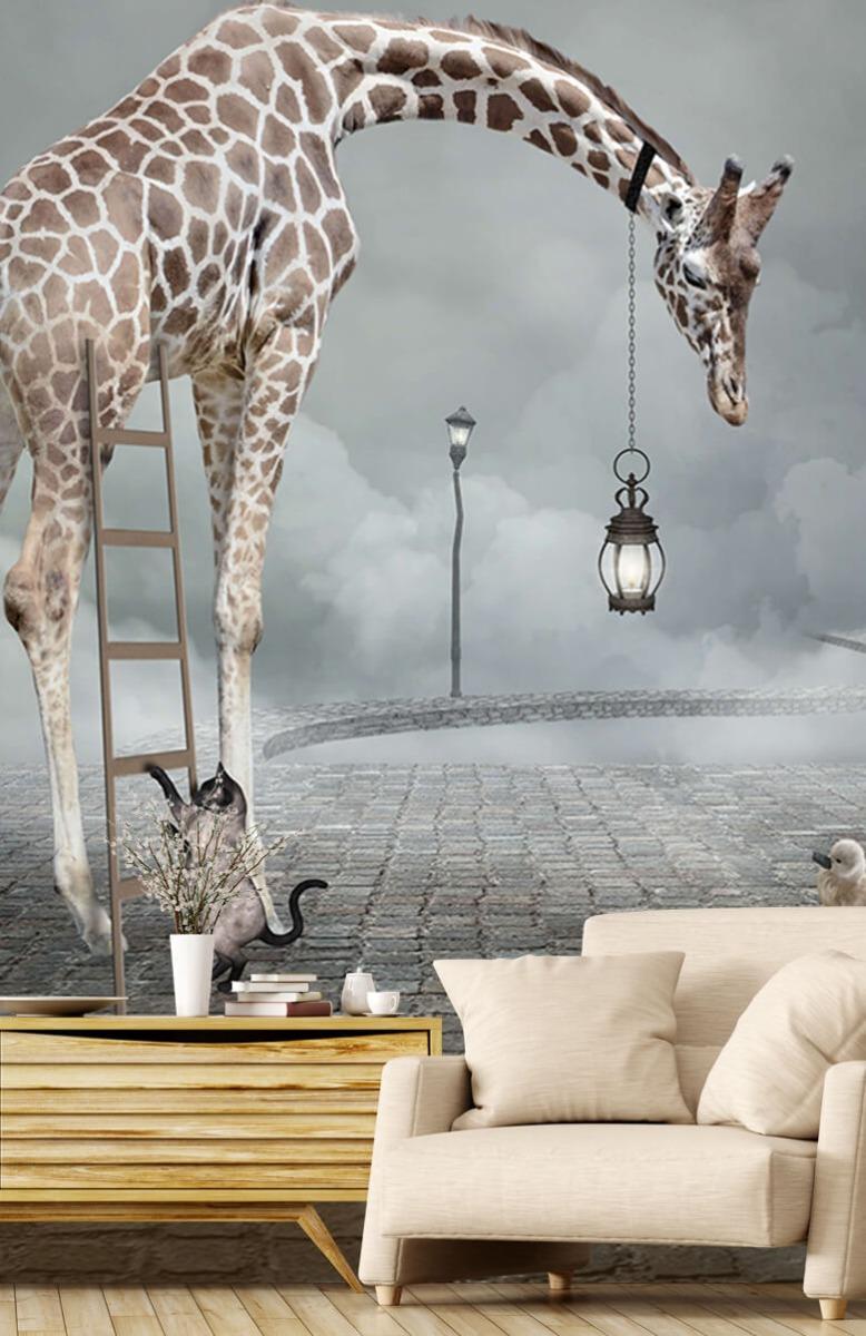 3D Fantasie landschap met dieren 1