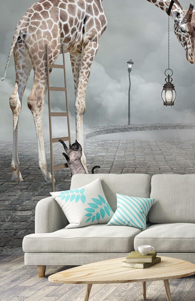 3D Fantasie landschap met dieren 2