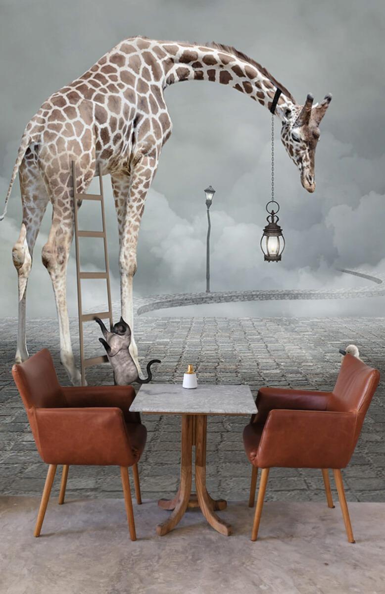 3D Fantasie landschap met dieren 3